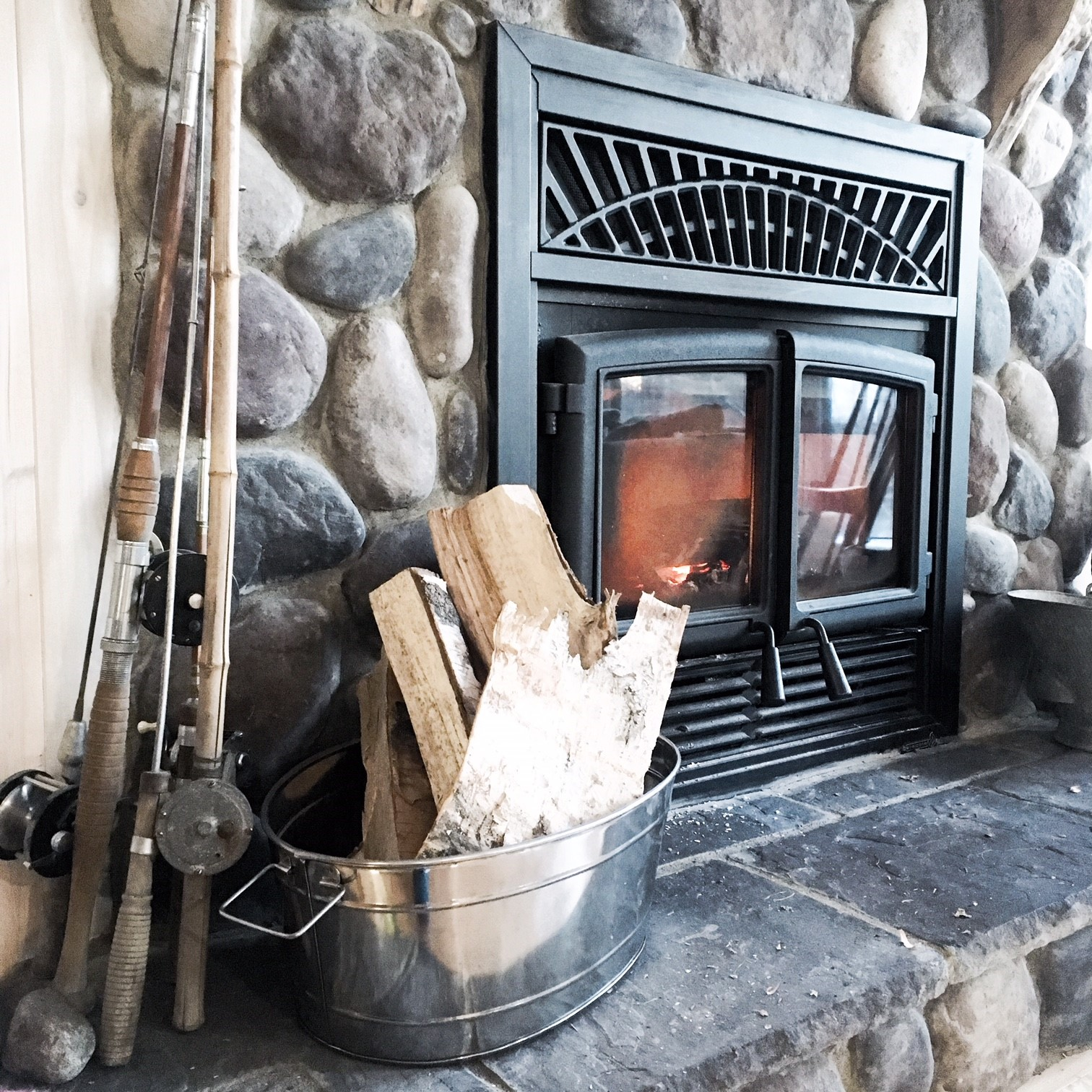 This fireplace didn't stop the entire weekend. Great ambiance along with that extra warmth the cabin needed