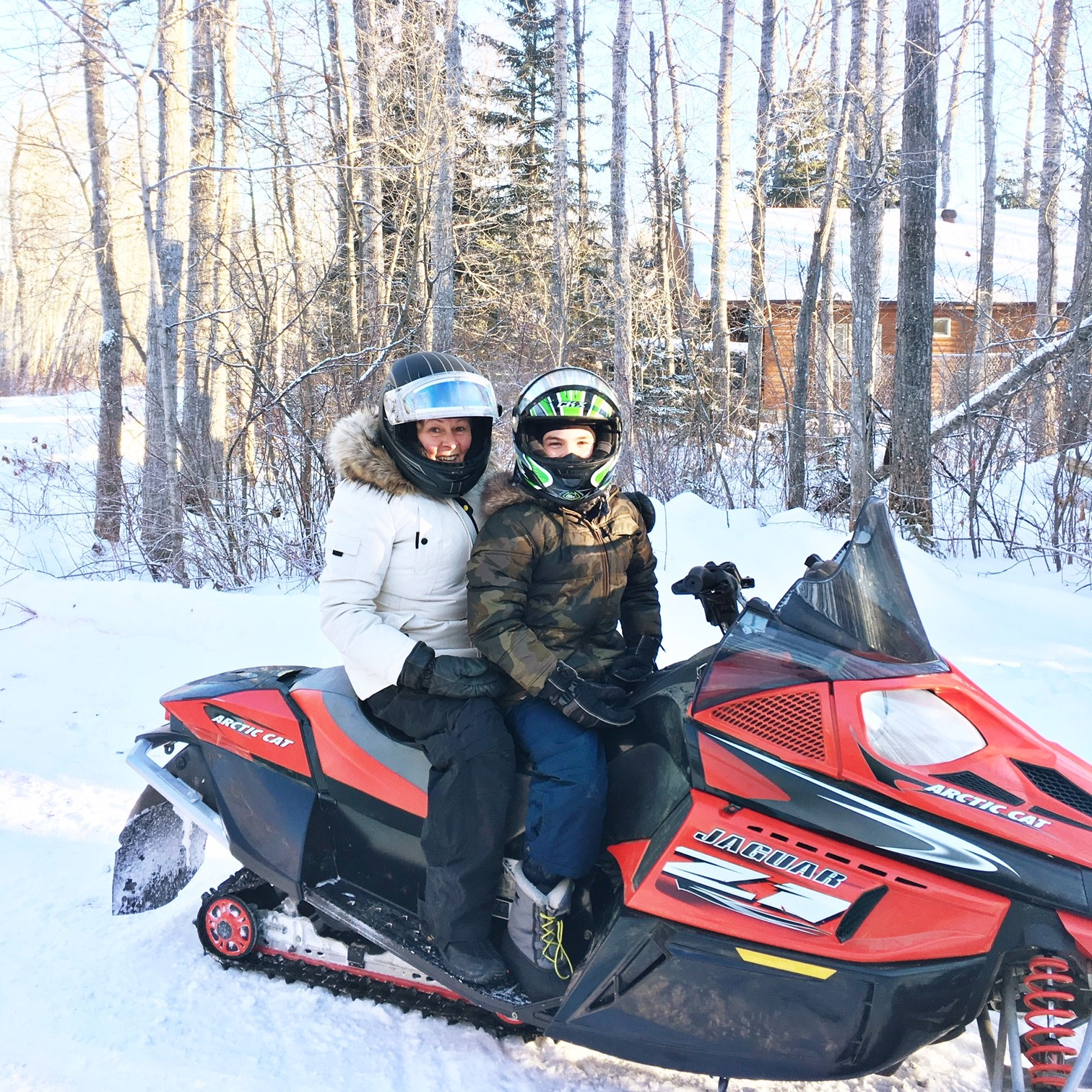 Gramma Dar on her first snowmobile ride ;)