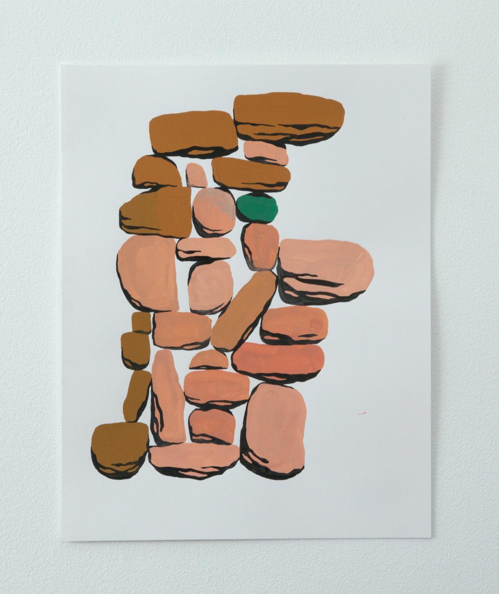 Him, Gouache on paper, 2016, 9 x 12