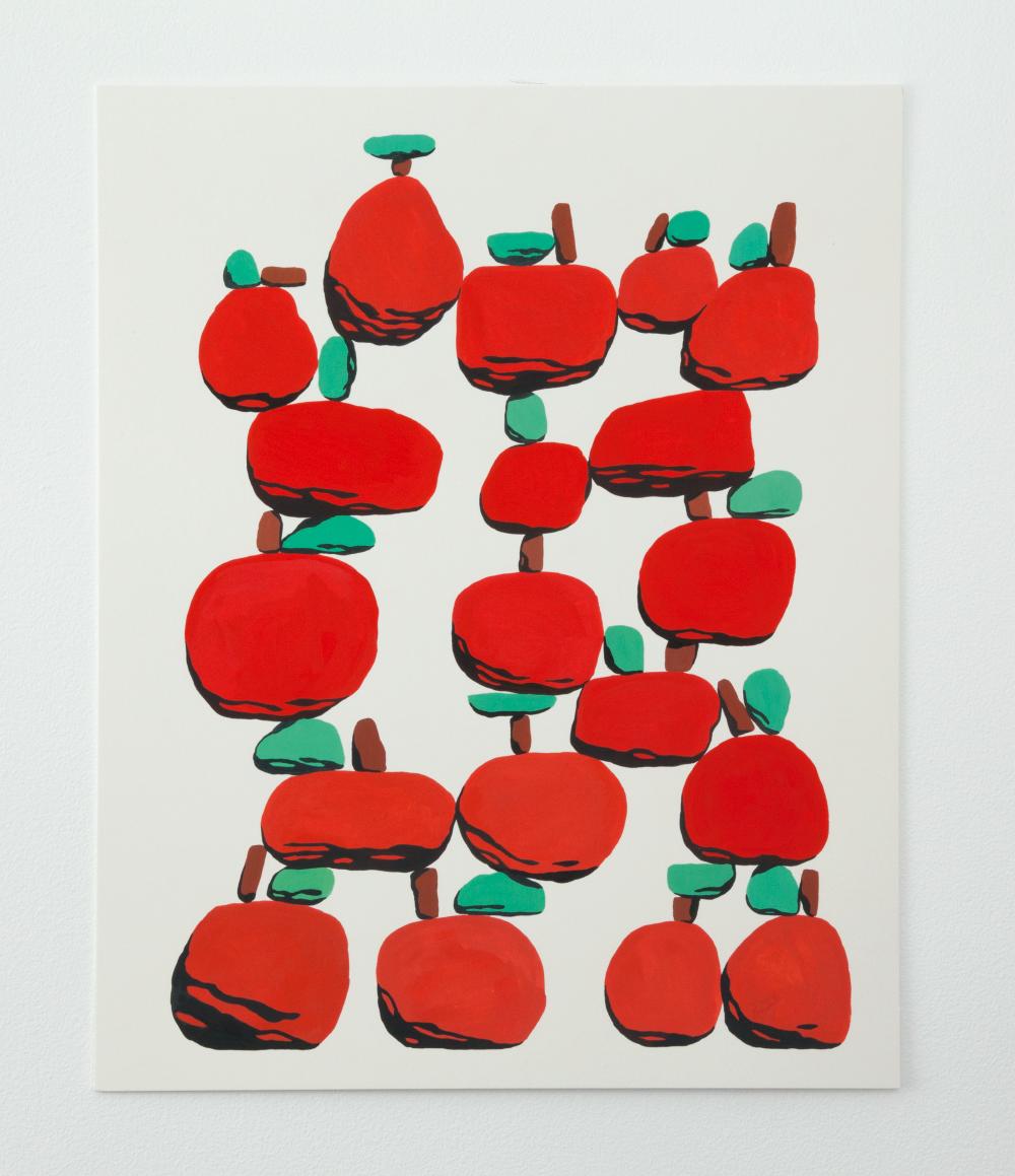 Stone Fruit, Gouache on paper, 2017, 16 x 20