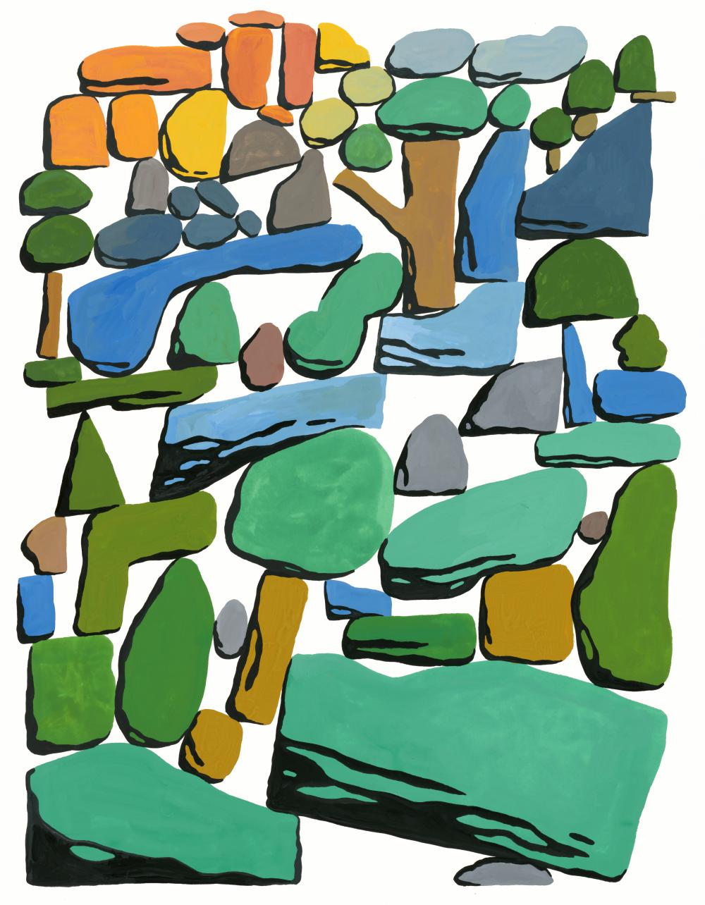 Outdoors, Gouache on board, 2017, 16 x 20