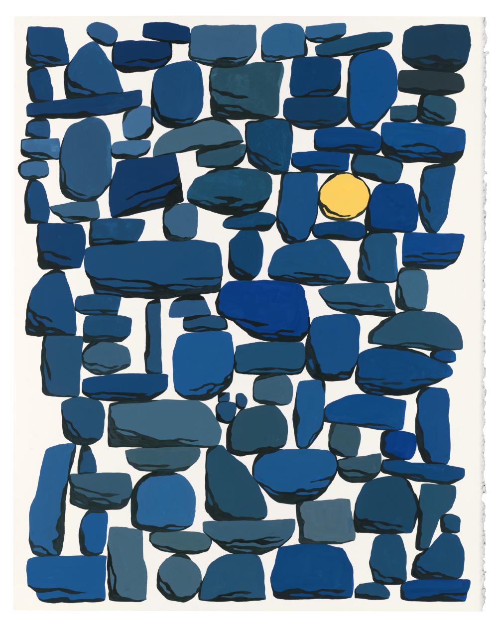Evening, Gouache on paper, 2017, 16 x 20