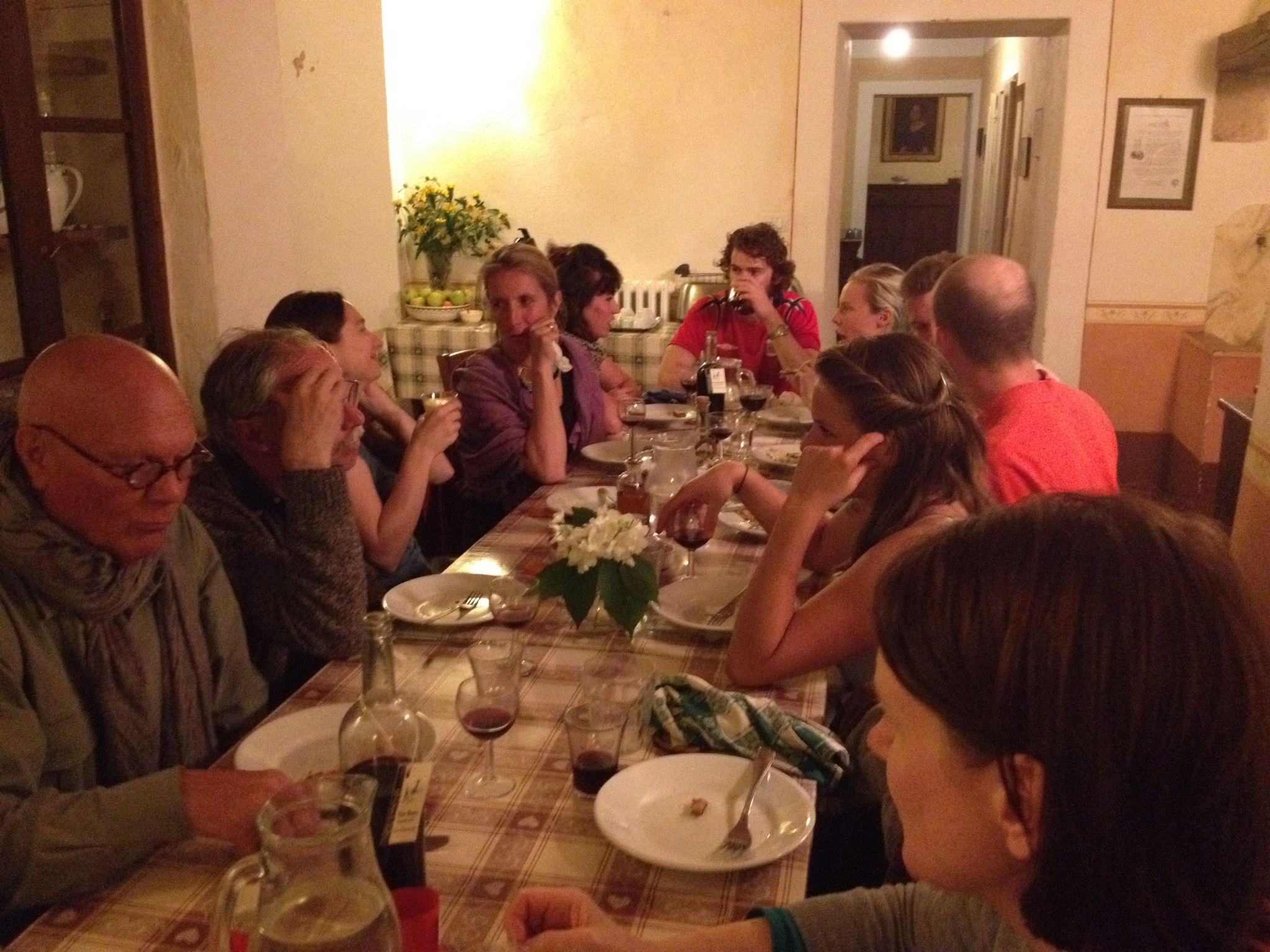The evening dinner at Spannocchi included staff, farmers, ranchers, and guests