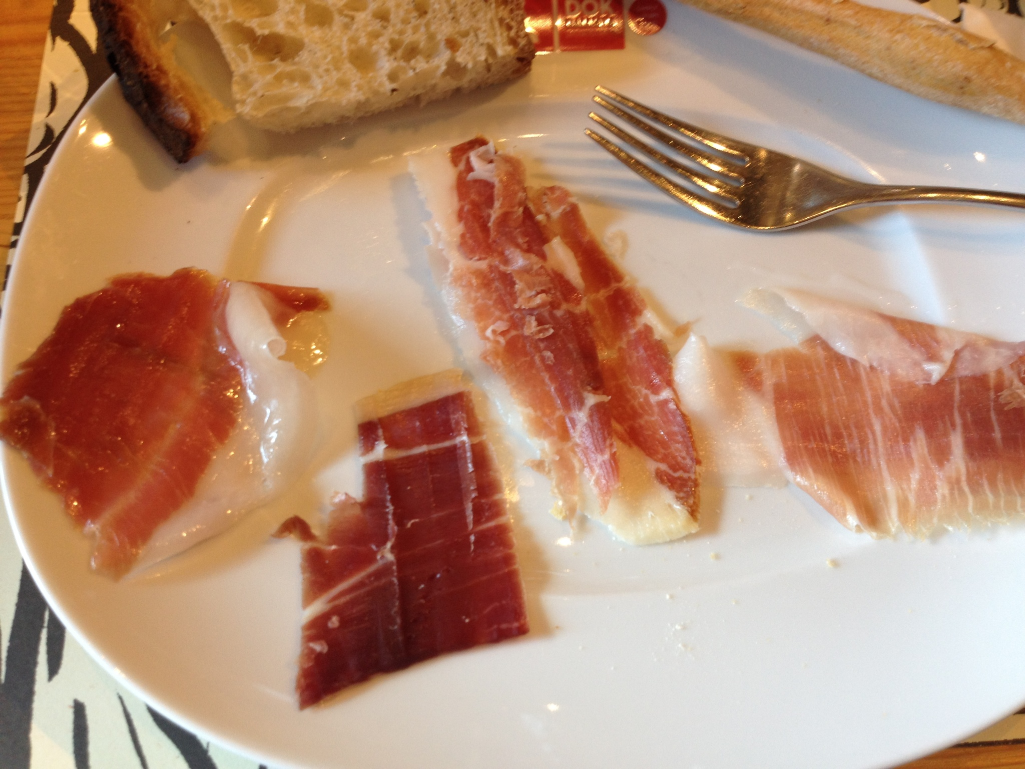 Ham Sampling (left to right):  2 year Mountain Ham, 3 year Mountain Ham, 2 year Scicillian Ham, 2 year Hungarian (Mangalitza) Ham