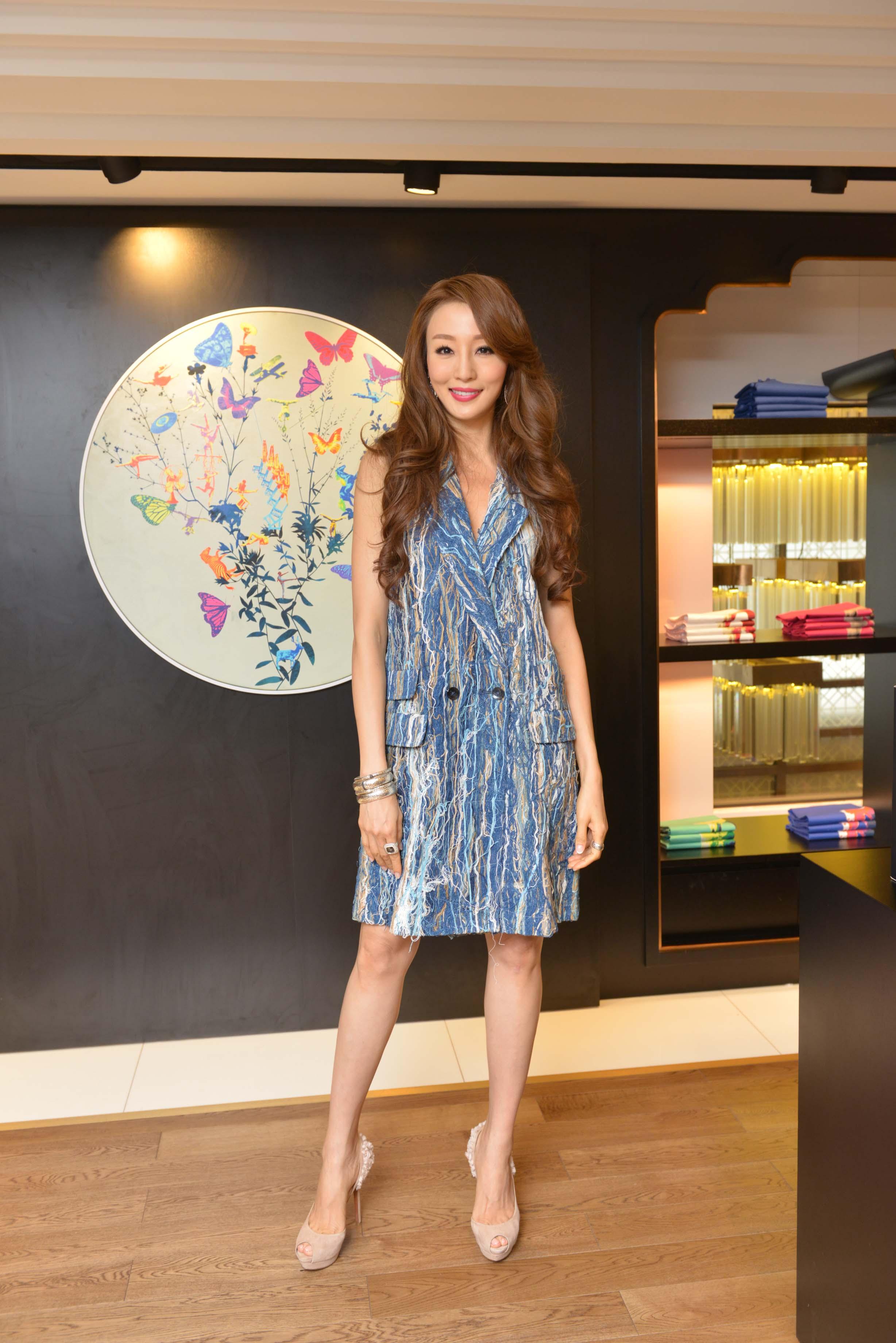 Hong Kong supermodel Eunis Chan wore Alex Leau to attend the Redress Design Award 2015/16 Hong Kong launch event