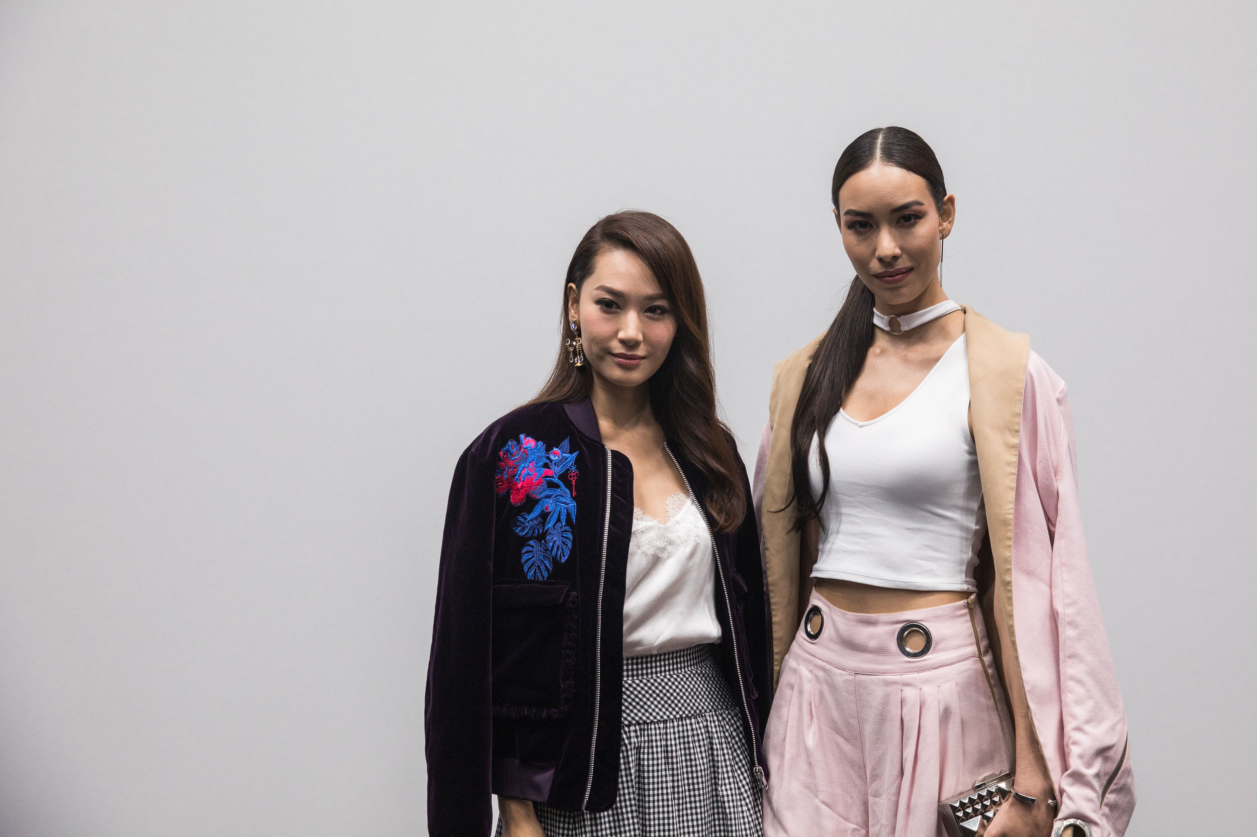 Redress Design Award ambassadors Kate Tsui and Sofia Wakabayshi attend the Redress Design Award 2017 Grand Final Show