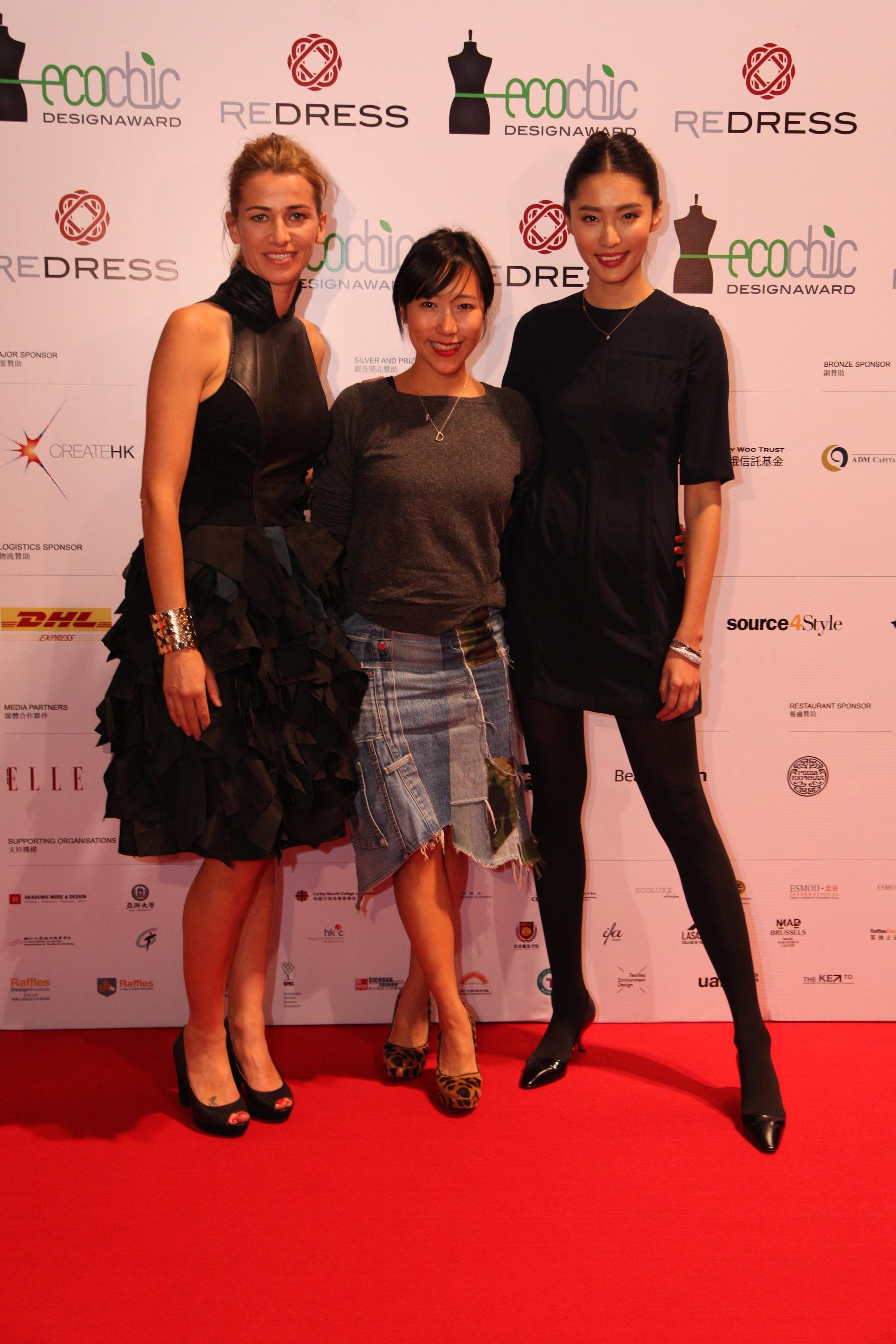 Redress Design Award stylist Denise Ho and ambassador Bonnie Chen attend the Redress Design Award 2013 Grand Final Show