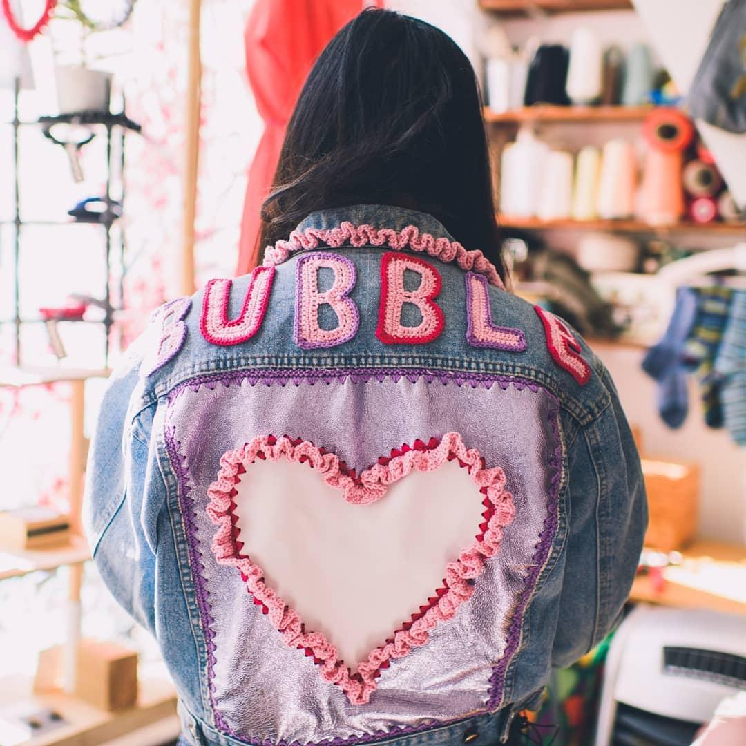 British blogger Susie Lau @susiebubble wearing 2014/15 Semi-finalist Katie Jones' design