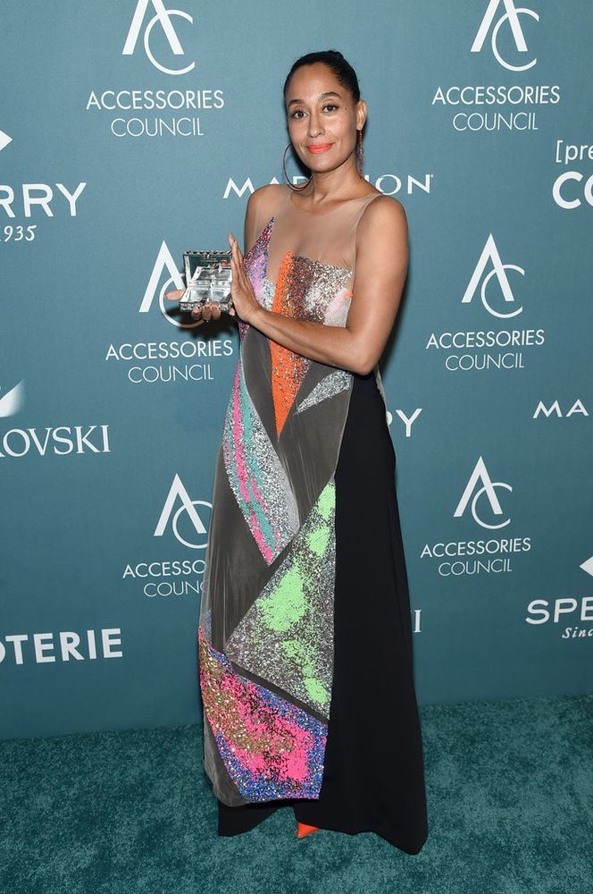 Actress and style icon Tracee Ellis Ross wearing 2014/15 First Prize winner Kévin Germanier's design at 2018 Accessories Council ACE Awards.
