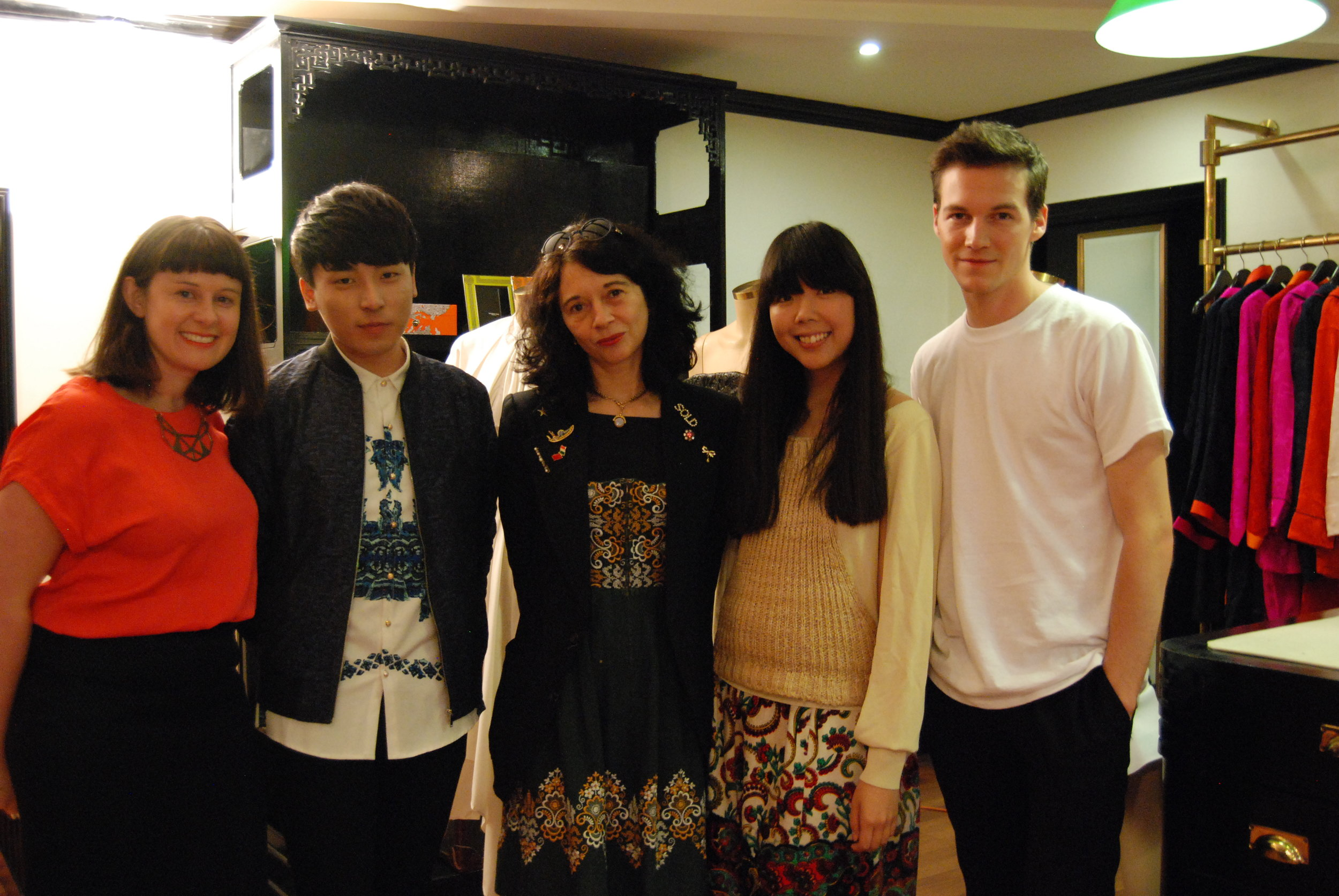 Orsola (centre) with mentees Angus Tsui (second from left) and Kévin Germanier (far right)