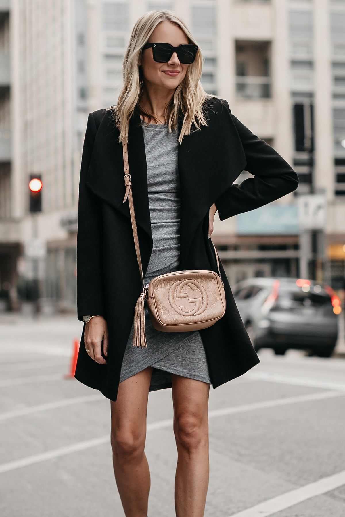 I love this grey wrap dress paired with this trench. It's a staple piece that can dressed up or down.