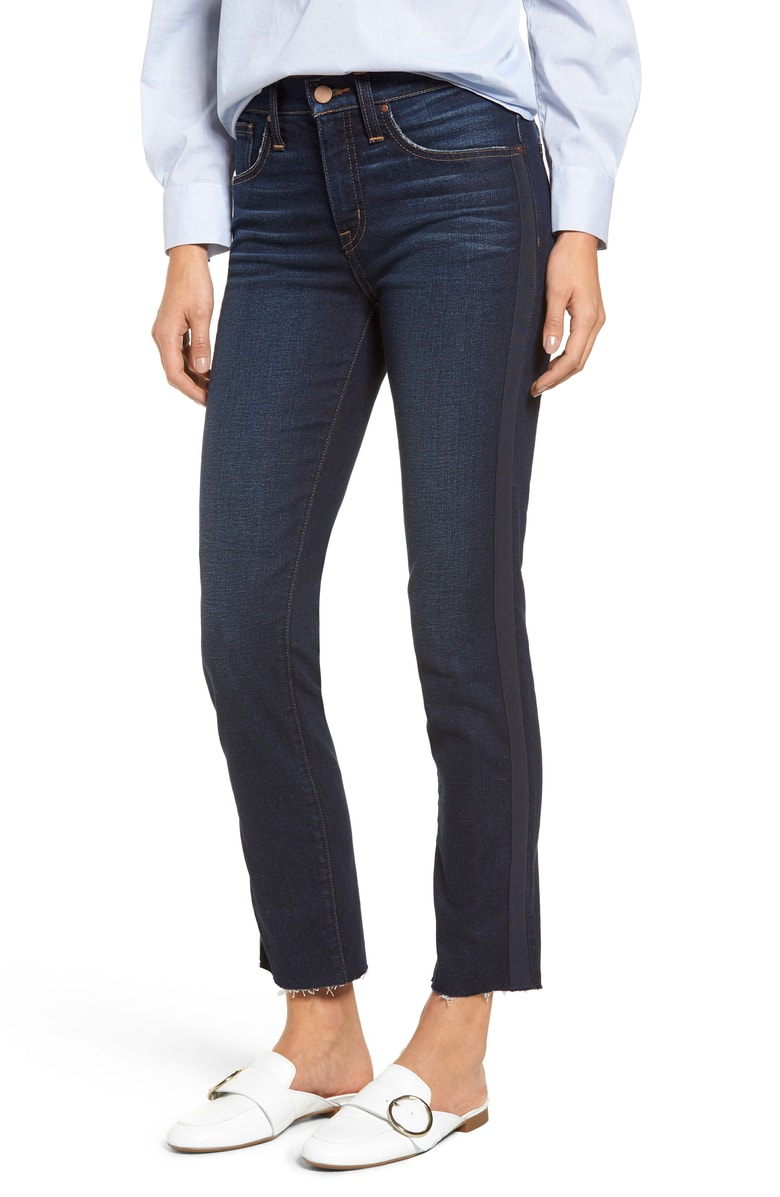 Halogen Ribbon Stripe Slim Jeans - Dark Wash? Check. Raw edge hem? Check. Under $50? Check. What more could you want? Nothing.