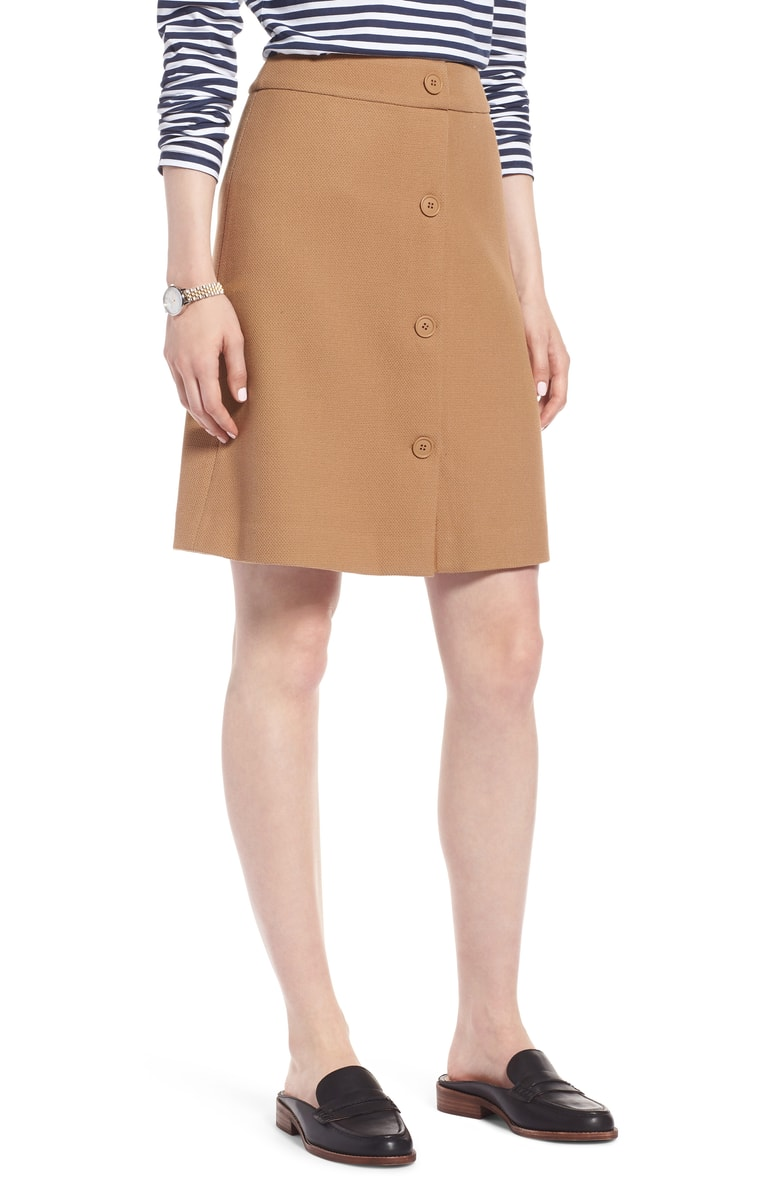 1901 Button Front Skirt - Love the silhouette of this skirt and it's button details on the front. It's made of a stretchy knit fabric which makes it perfect for fall with some tights and boots. It also comes in a navy and a red!