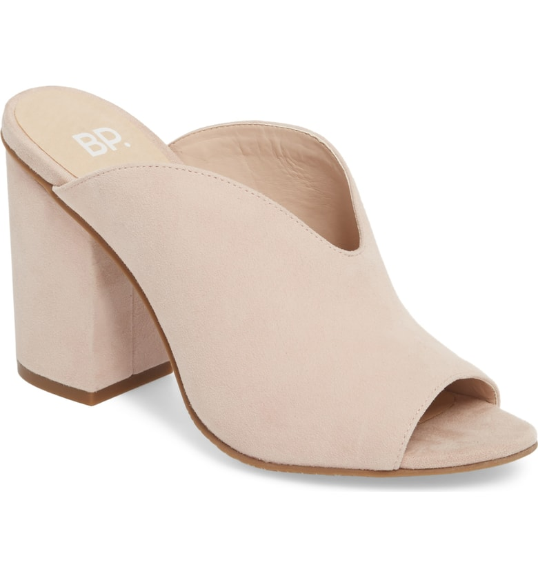 BP. Tonya Open Toe Mule - Mules are the biggest shoe trend this year and I'm happy they are still wearable well into fall. The chunky heel makes them a bit easier to walk in and the v shape on the shoe make your legs look longer and skinnier! This pair comes in blush, black, grey, and red suede.
