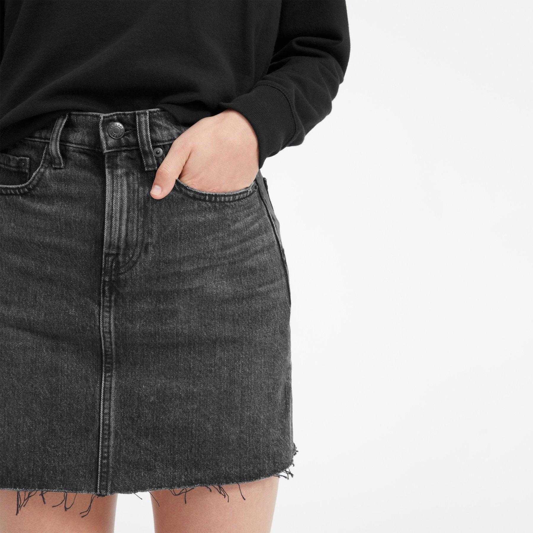 Denim Skirt with Raw Hem - $58
