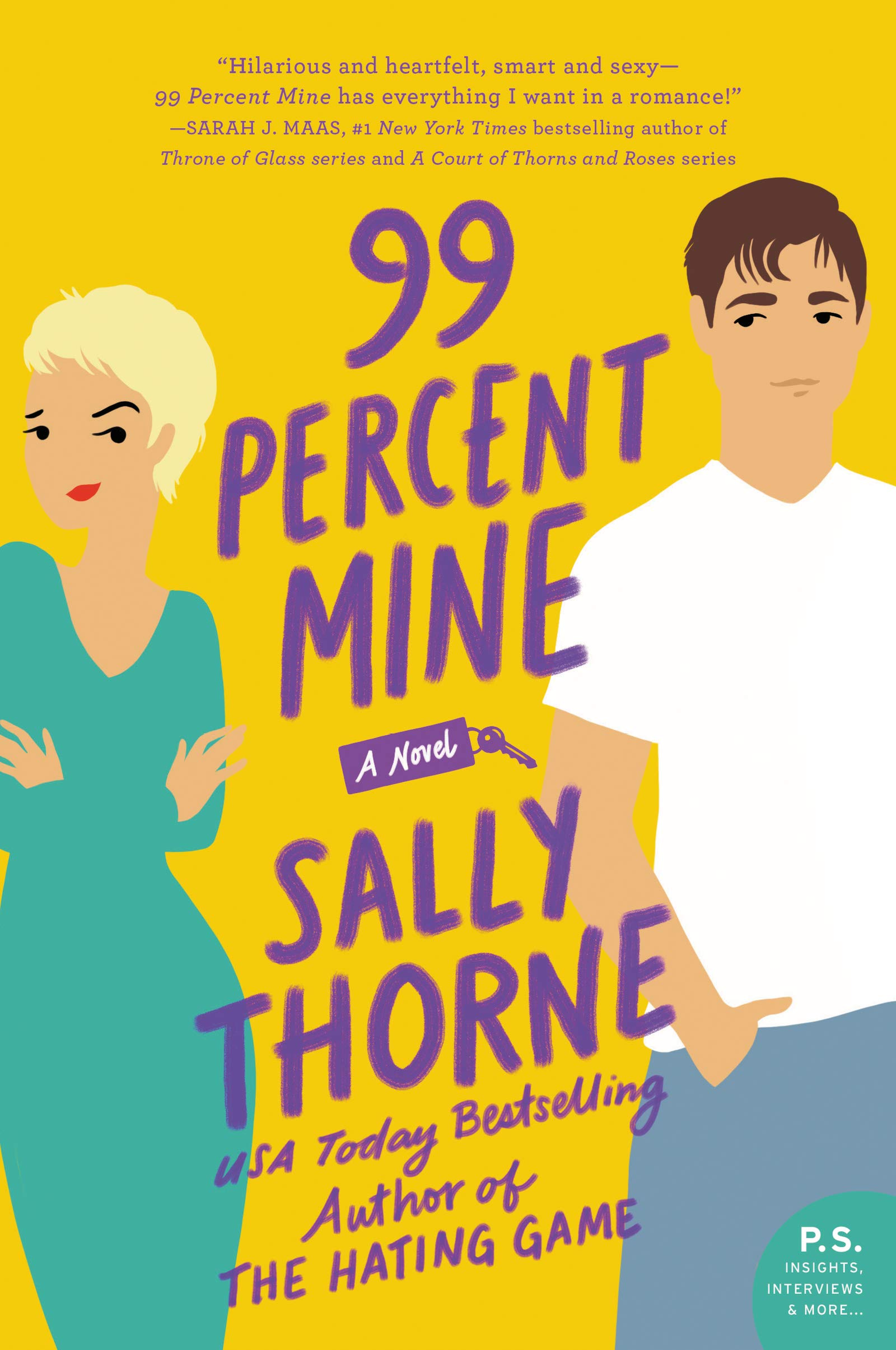 "99 Percent Mine by Sally Thorne - Bad on Paper Podcast Book of the MonthRating: 2/599 Percent Mine is narrated by its main character, Darcy, a rebellious ex-professional photographer who is notorious for running away from her problems. But when her passport is misplaced and her grandmother's house, which she inherited with her twin brother Jamie, needs renovating, she stay put. Firstly, to make sure her brother doesn't ruin the charm of the home, and secondly, because her life long crush and childhood neighbor, Tom, is the contractor. Tom and Darcy have always loved each other since youth and he even once told her his feelings when they were 18, which then Darcy responded by running to Italy the next day. But now that he's back in close proximity and newly single, maybe this is her second shot. This book is a quick read and entertaining, but the problem was that I didn't like Darcy. She's VERRY crude and aggressively. It also took A LOOONNGGG time (like 200 pages long) to get the romance to culminate, which to me is the best part and the reason I read a romance novel. Lastly, the ending is also very anti-climatic which is the worst unless there is a sequel. I had high hopes for the book because Sally Thorne's first book, The Hating Game, is RAVED about (haven't read it). It seems to me this was a classic ""publishing house pushes bestselling author to release second book ASAP which then makes author scramble with sub-par plot.""Is it a must read? No, but I am curious to see what The Hating Game is like, but I'm going to go in with lower expectations. If you want a good brain-candy romance novel, try out Jasmine Guillory's books!"