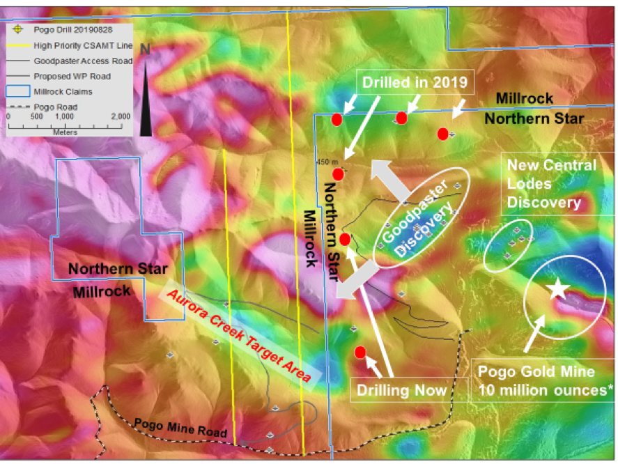 Figure 1:    Aurora Creek Target on Millrock claims adjacent to Northern Star Pogo Gold Mine Property. Pogo Gold Mine approximate gold endowment – Past Production + *Reserve + Resource as reported by Northern Star Mines Limited in a    press release    dated August 1, 2019.
