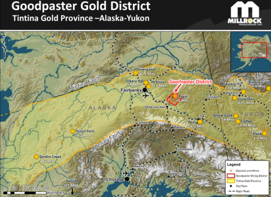 Figure 1.    Goodpaster Gold District Location in the Tintina Gold Province.