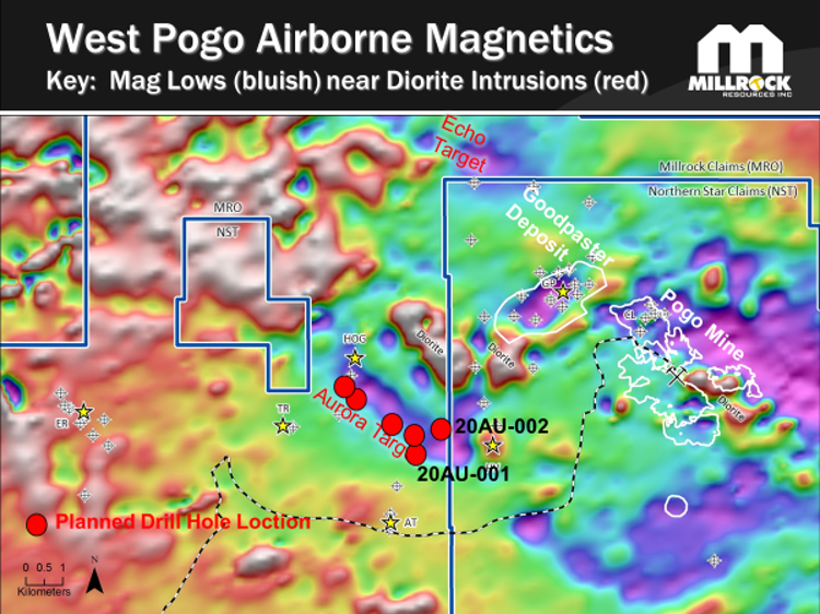 Figure 3.  Location map showing the Pogo Mine gold veins and Goodpaster gold deposit vein outlines projected to surface (white polygons) on Northern Star's property. Red dots indicate approximate location of holes being drilled in the initial program by Millrock. The base map layer presented is airborne magnetic data.