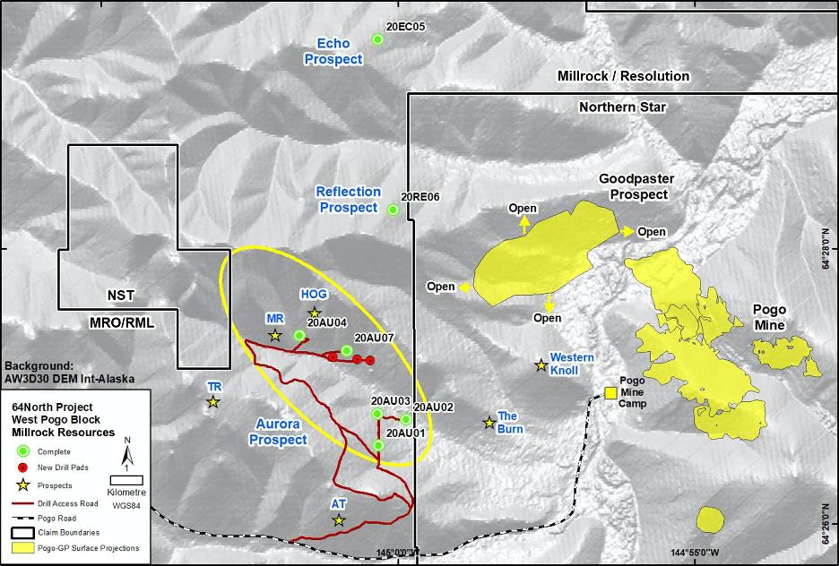 Figure 1. Aurora, Echo & Reflection Prospects - West Pogo Block, 64North Project Alaska, current drilling focus