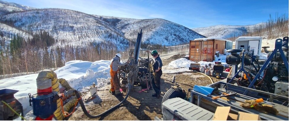 Figure 1:   Rotary Air Blast drill rig in action at the Sunrise prospect, West pogo block, 64North gold project, Alaska.