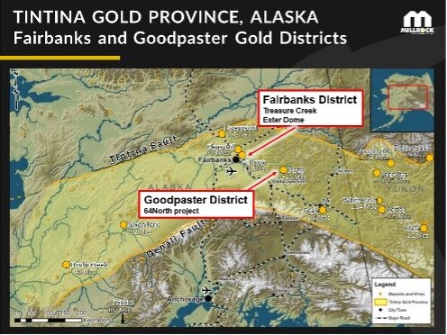 Figure 1.    Millrock gold project locations within the Tintina Gold Province, Alaska.