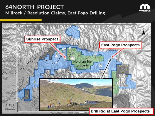 Figure 2.  Reverse circulation drill rig in operation on the East Pogo block, 64North Gold Project,