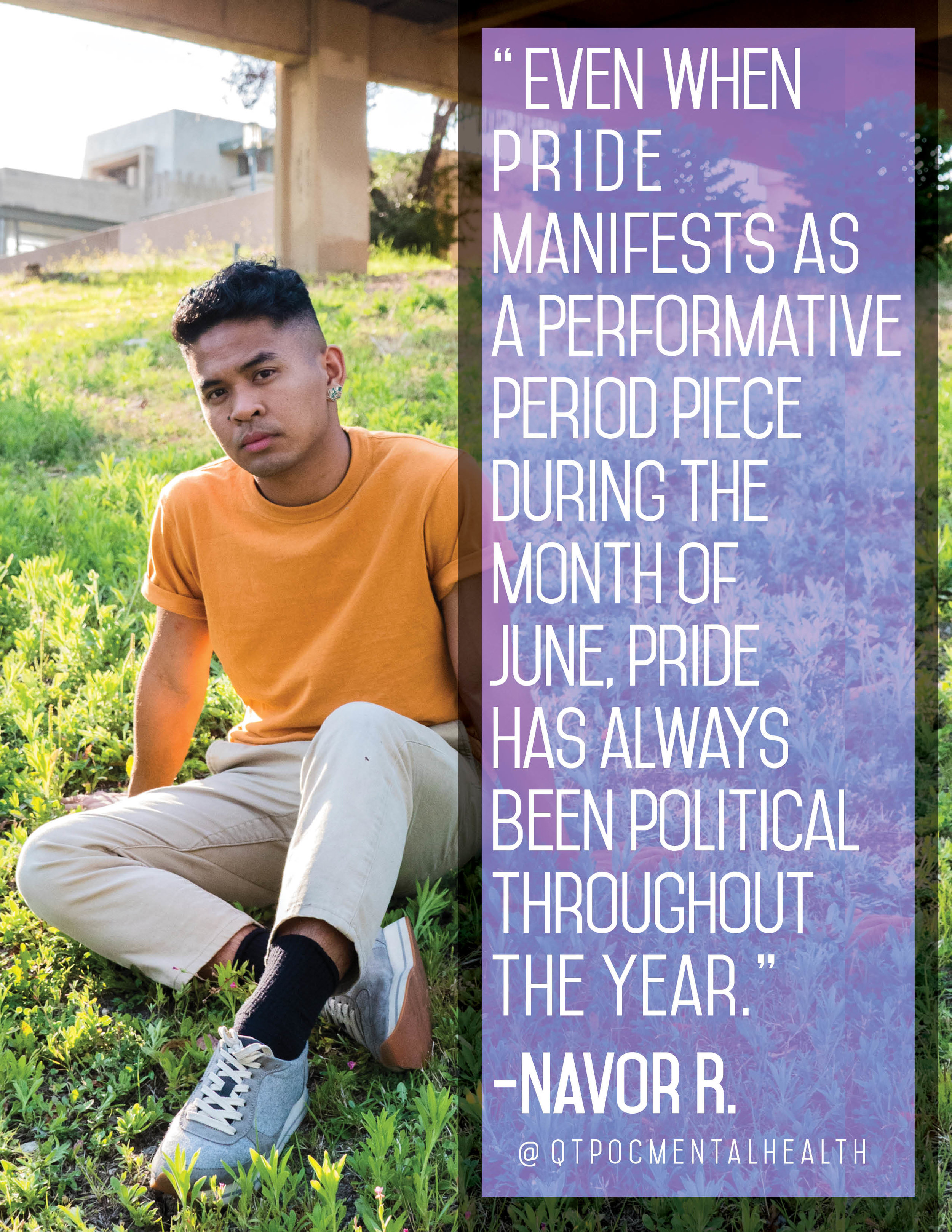 """""""Even when pride manifests as a performative period piece during the month of June, pride has always been political throughout the year.""""  Queer liberation has no season."""