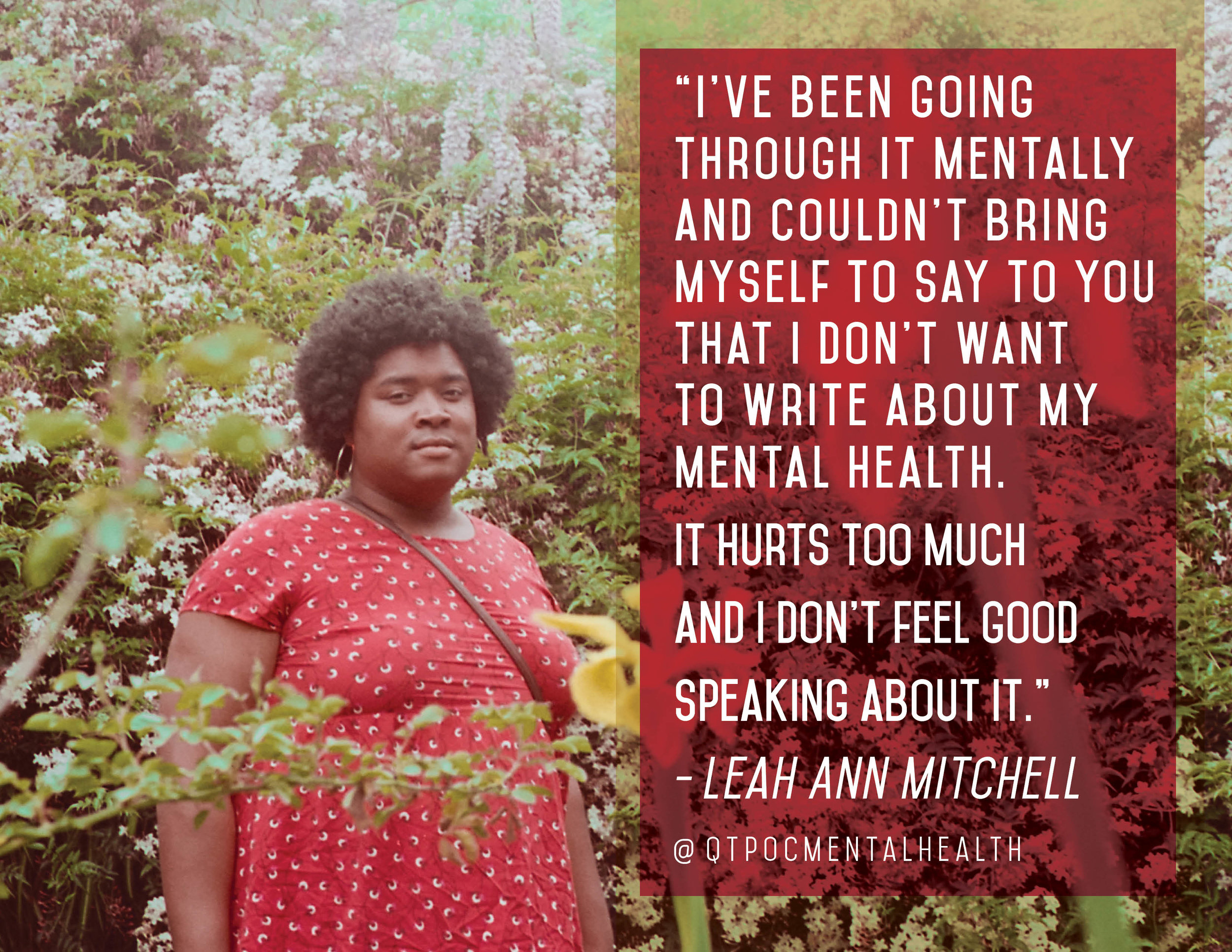 """Leah Ann Mitchell is an Afro-Latinx artist living and producing music in Oakland, CA. The image reads, """"I've been going through it mentally and couldn't bring myself to say to you that I don't want to write about my mental health. It hurts too much and I don't feel good speaking about it."""" You can check out Mitchell's work on  https://soundcloud.com/lamfemmebear  and their Instagram:  @lamfemmebear  Photo by: Eve Moreno-Luz"""