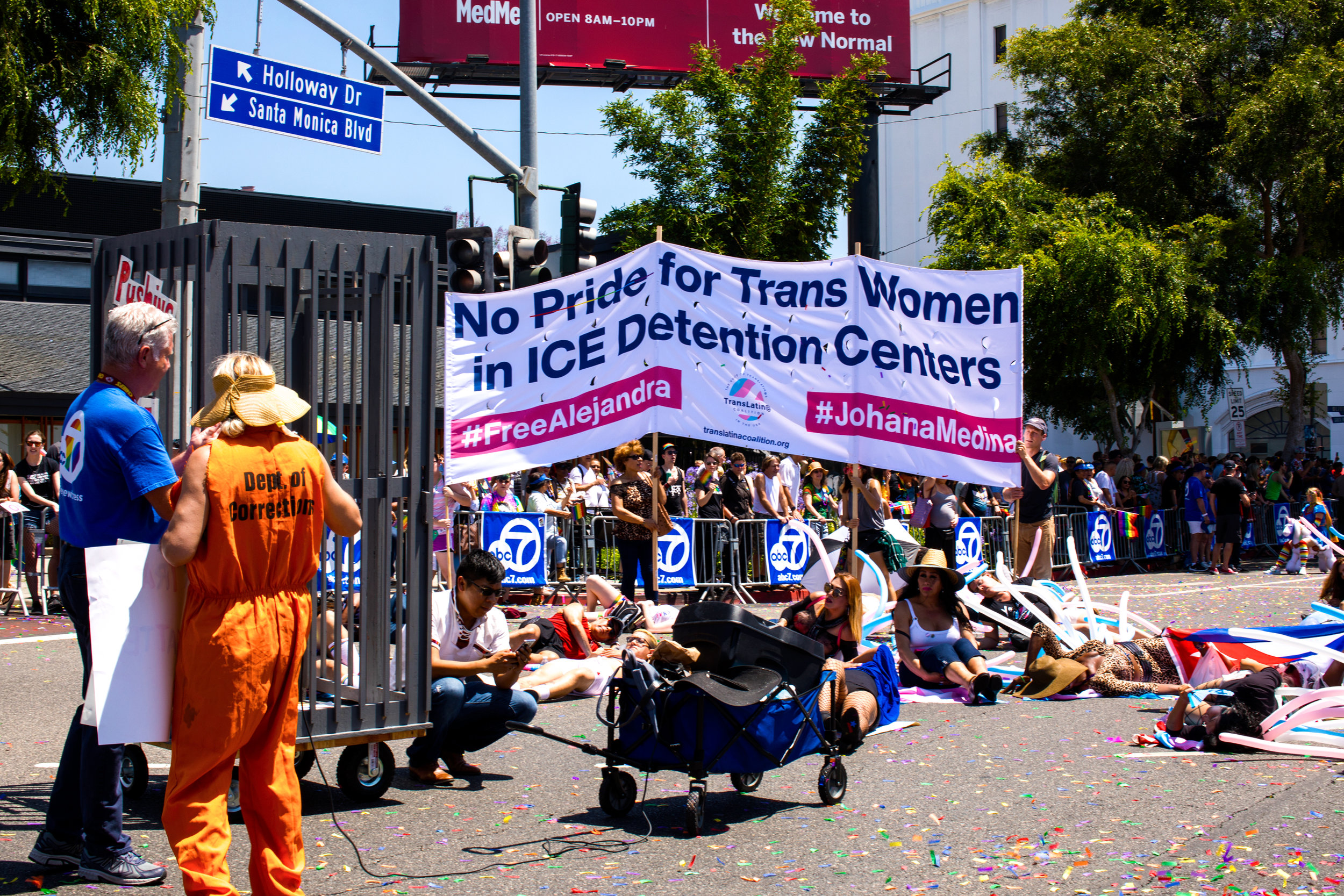"During the Los Angeles PRIDE March on June 8, 2019, the Trans Latin@ Coalition disrupted the onslaught of corporations parading down Santa Monica Blvd with chants like, ""IF WE DON'T GET NO JUSTICE, THAN FUCK THE POLICE!"" When the TLC contingent reached the NBC live streaming of the PRIDE March, demonstrators enacted a die-in during the live streaming that was ultimately censored.  Photo by: Eve Xelestiál Moreno-Luz"