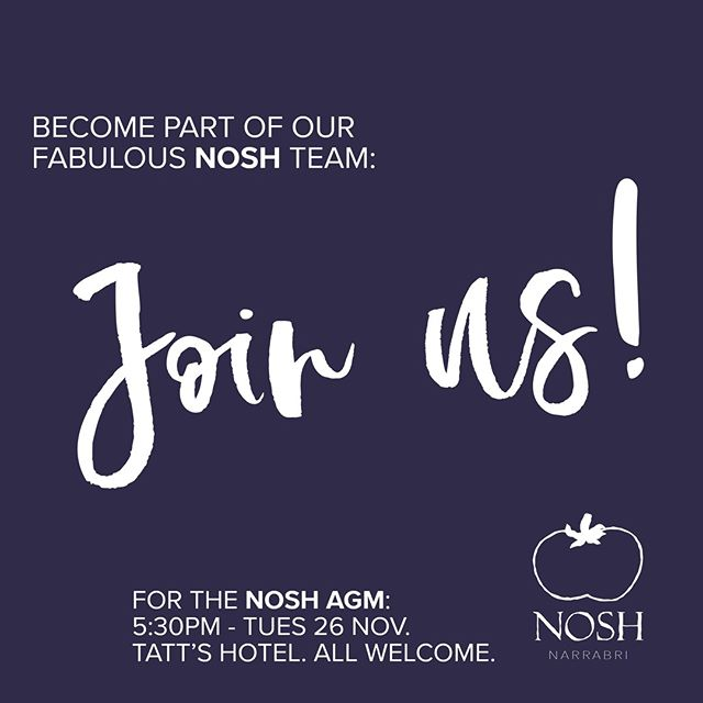 Want to be part of the fab #NoshNarrabri team?  Please join us for the #Nosh AGM, taking place at 5:30pm on Tues 26 Nov at Tatts Narrabri. We're looking for team members to help us hit #Nosh2021 outta the ball park! All are welcome 🤩. #livelocallovelocal #explorenarrabriregion