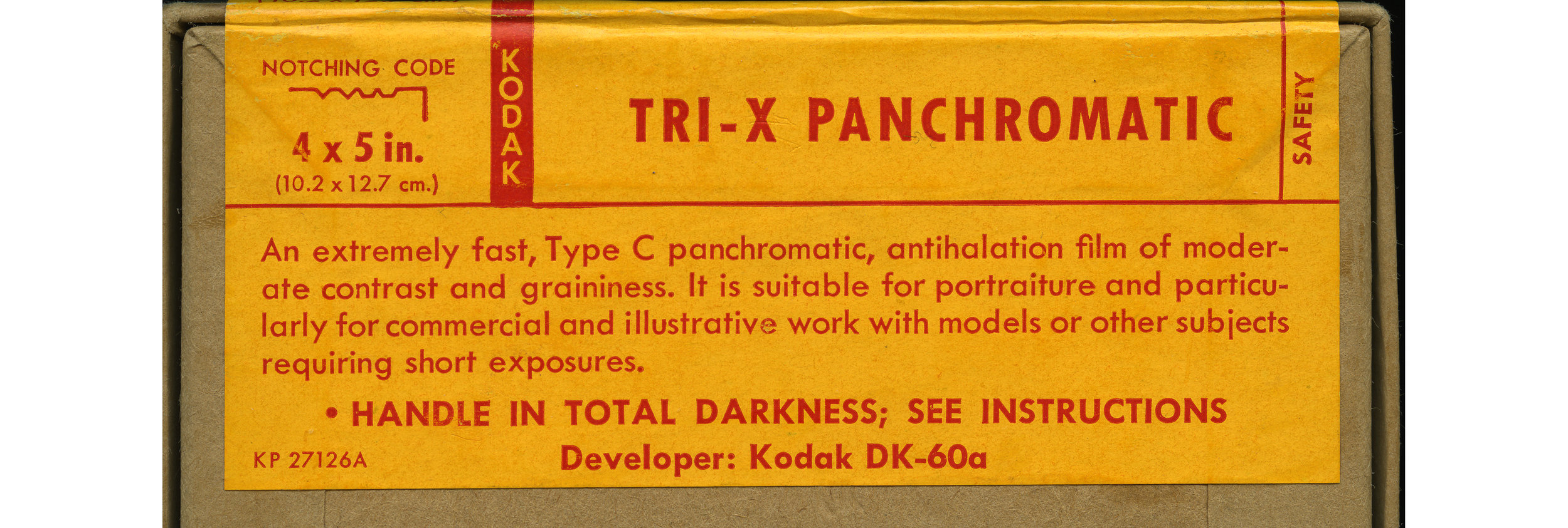 Introduced around 1940, Kodak Tri-x is my film of choice. Thankfully (as so many film have since been discontinued) it is still in production today. Pictured,is the identification label on the back of a vintage box of 4x5 inch Tri-x sheet film from the 1940's.