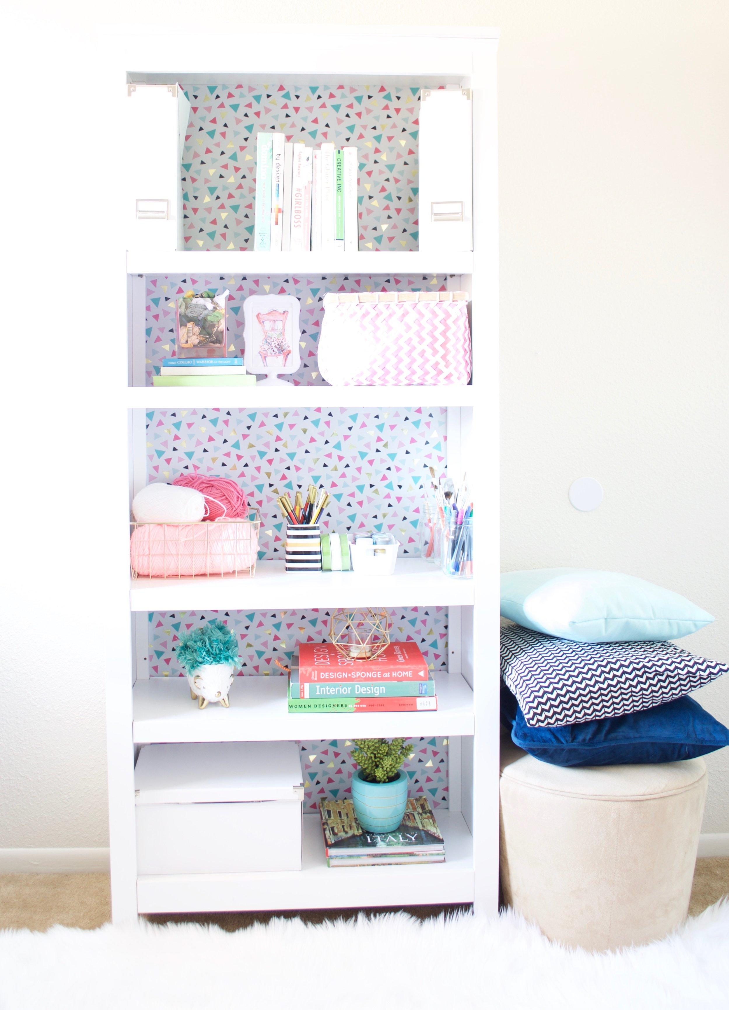 gift wrap lined bookshelf