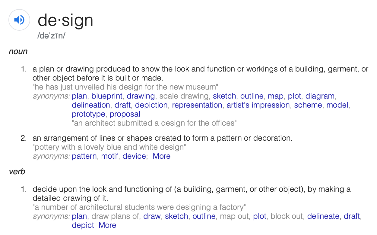 google's definition of design