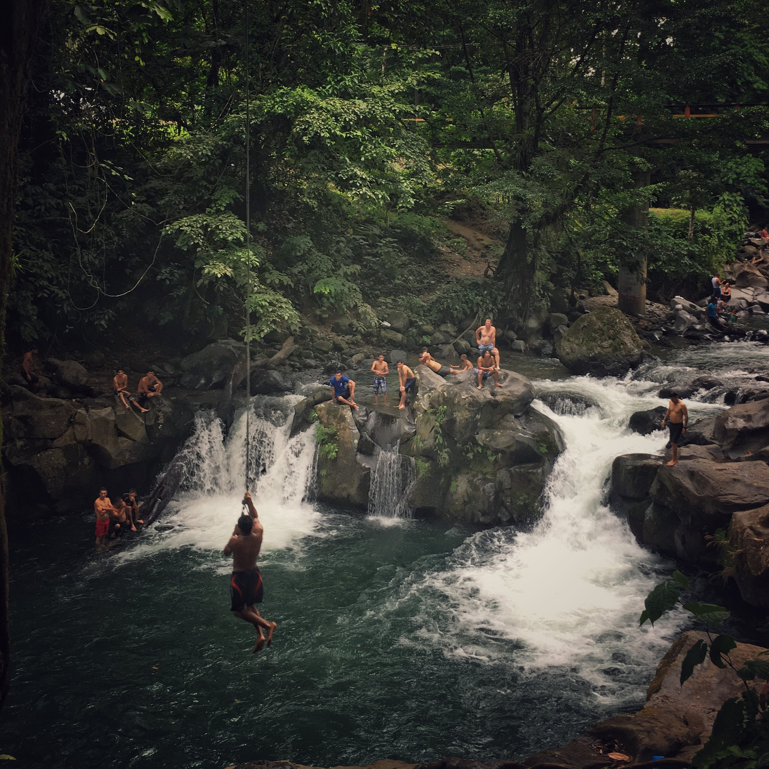 perfect sunday afternoon: swimming hole rope swinging @ El Salto rio