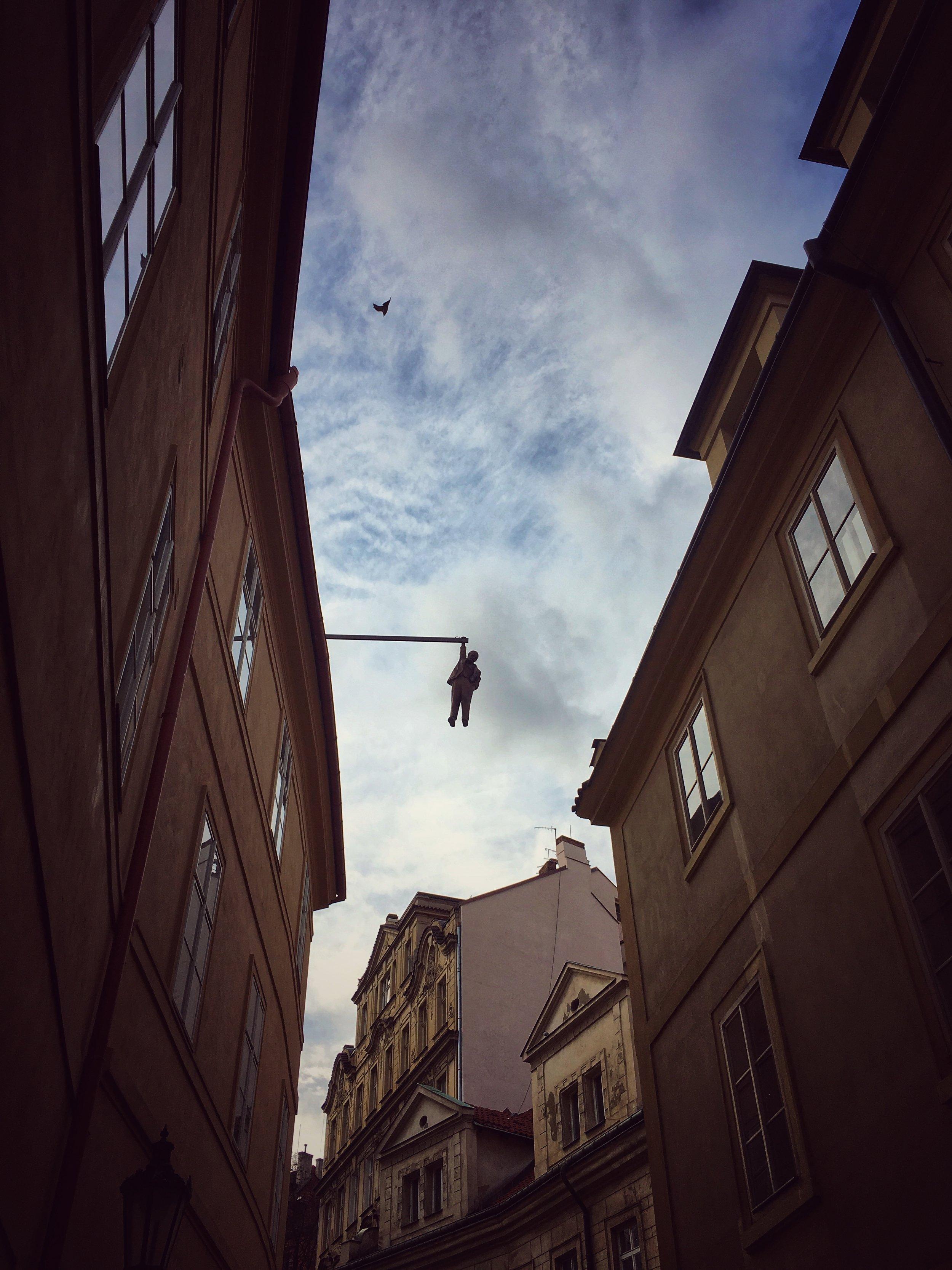 David Cerny - hanging man (with bird)