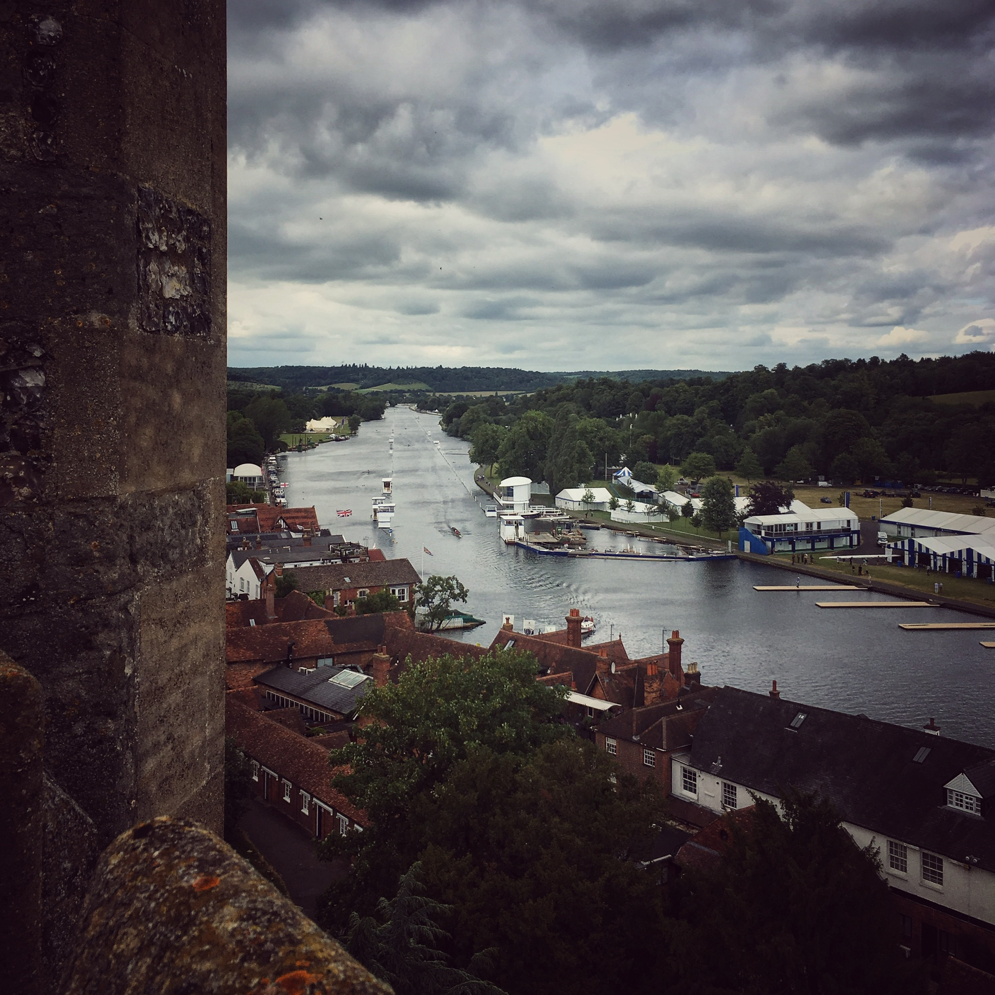 from the belltower to the start line of the Henley Royal Regatta