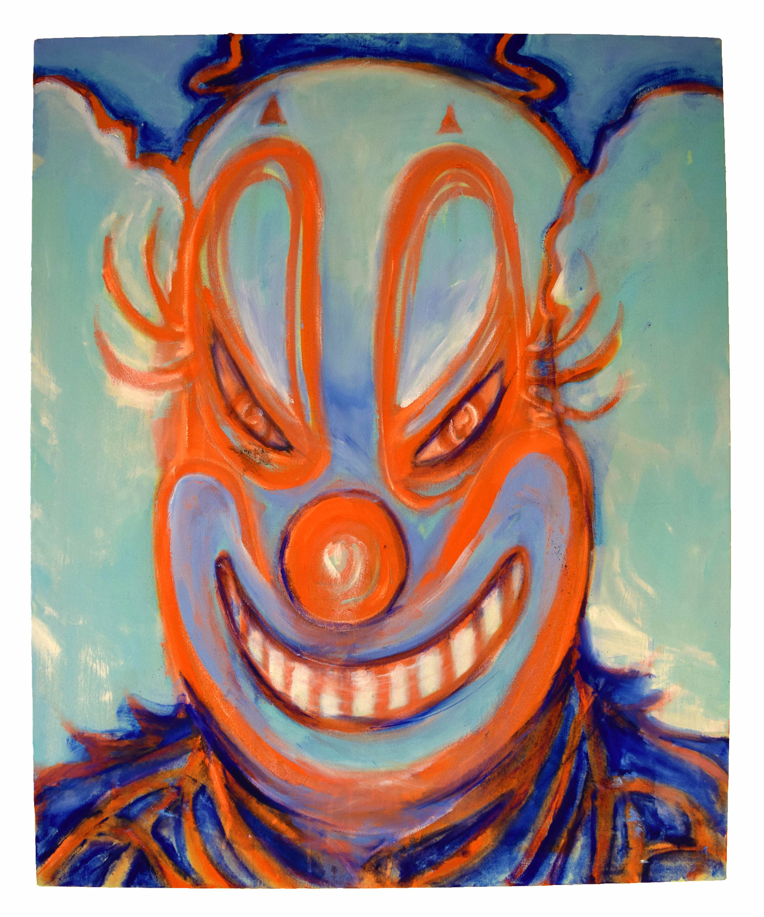"""Smiling clown"" , Oil paint, acrylic paint, spray paint and ink on canvas. 37"" x 30"" x 1""."