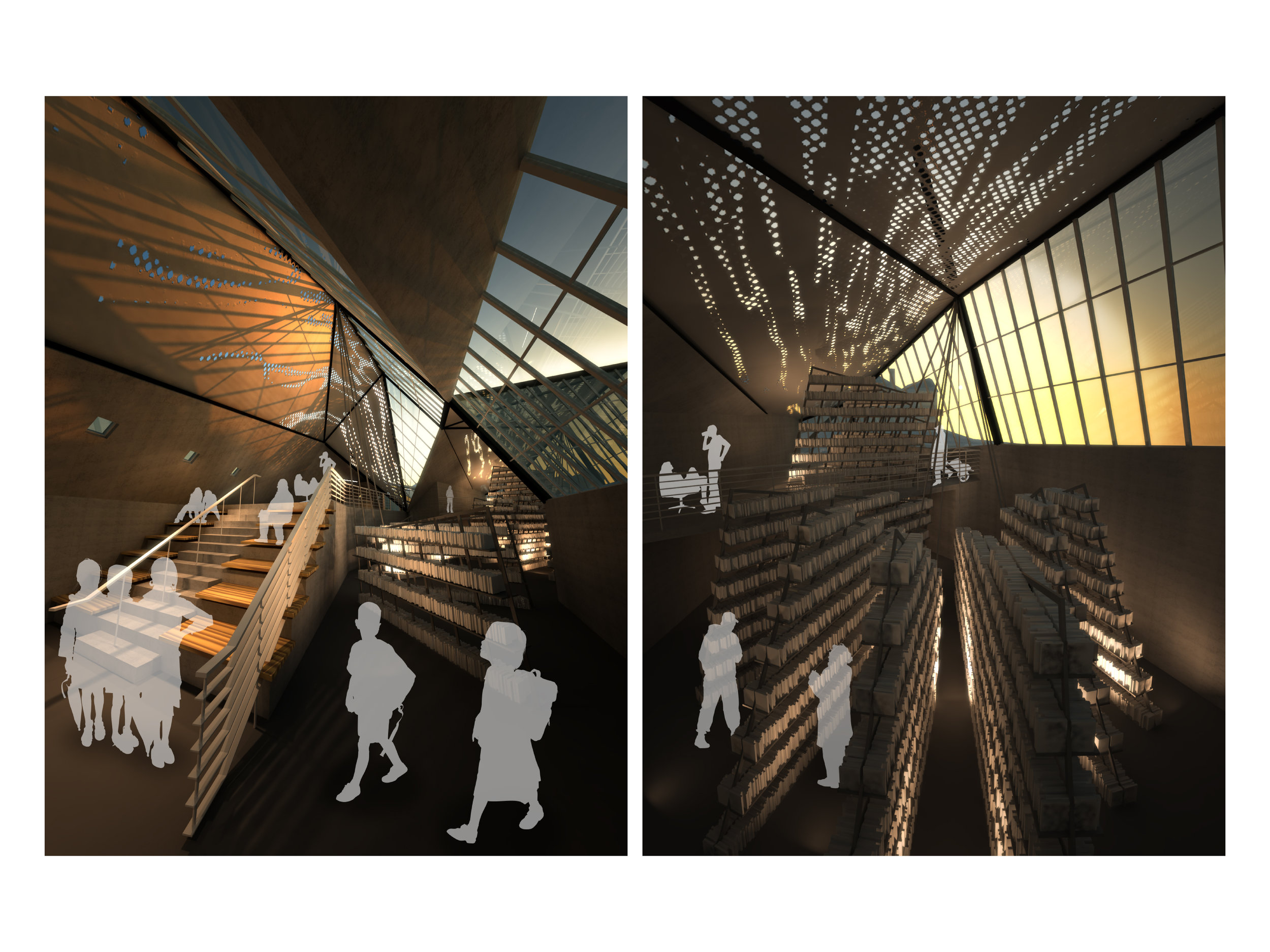 Renderings of Seating Area and Stacks