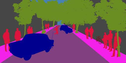 An image created using illustrator and vector silhouettes. The colors used correspond with the pre-trained algorithm.