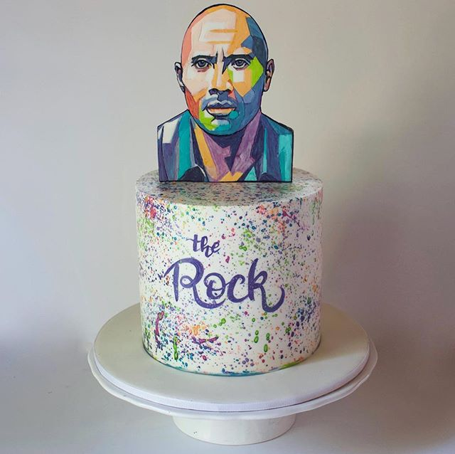 Edible hand painted colorful geo portrait of Dwayne @therock Johnson for @giftsandotherblunders birthday cake! 🎨💜 This painting is 100% inspired by uncredited poster found on google☝️loved trying out this different style of portrait painting 😁