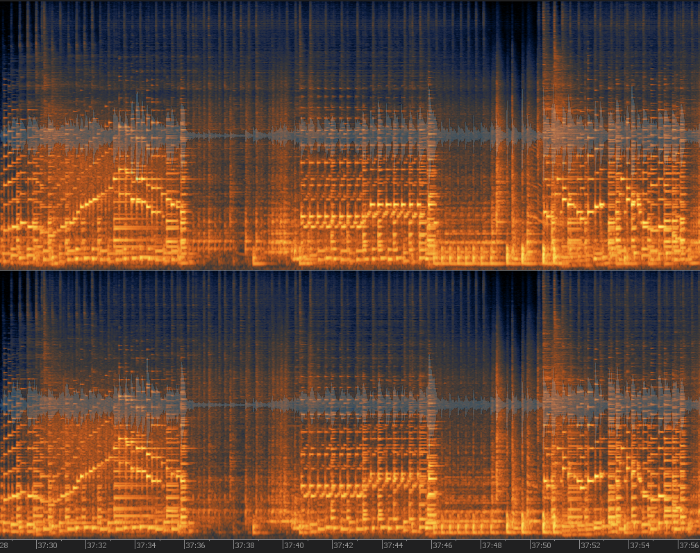 A Spectral Display of a stereo piano track, the brighter the orange the louder it is. Low sounds are down, higher pitches up.