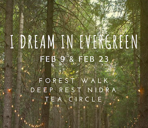 I Dream in Evergreen See a tree. Be a tree. Save a tree. This two hour class is designed to help bring the magic of evergreen tree therapy into your awareness. We'll embrace the lessons that our tree friends teach us and reflect on our existing relationship with nature through breathwork, journaling, movement and yoga nidra.