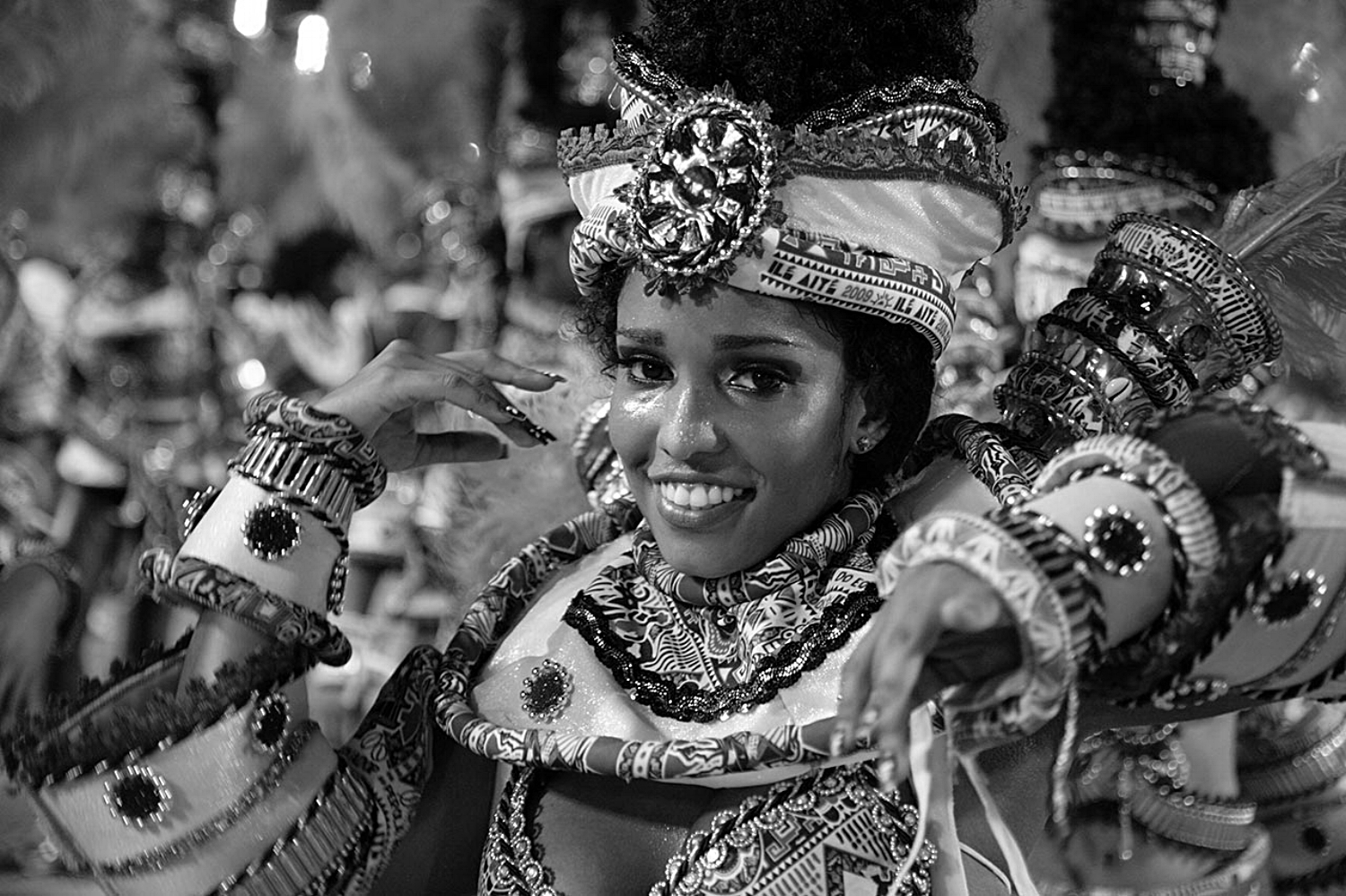 Brasilian woman during the celebration of Carnival.