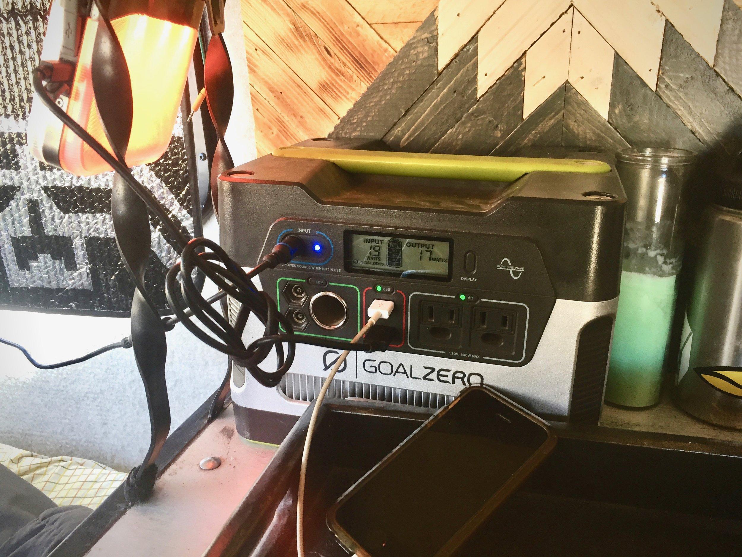 Yeti 400 Charging  Biolite BaseLantern and iPhone SE. 19 watts input from Escape 30 Panel (old school). 17 watts output to BaseLantern and iPhone.