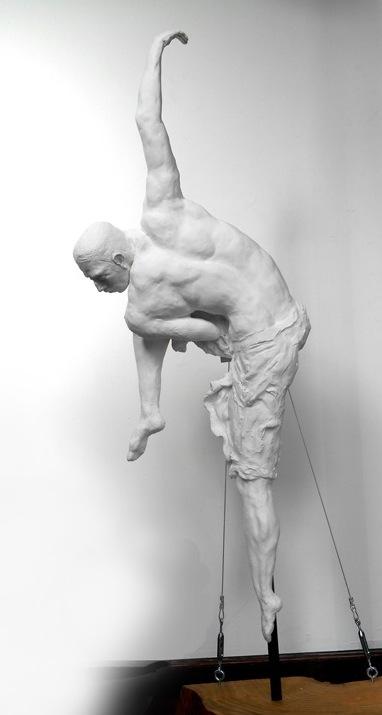 Dancer 91.35.12 cm painted terracotta