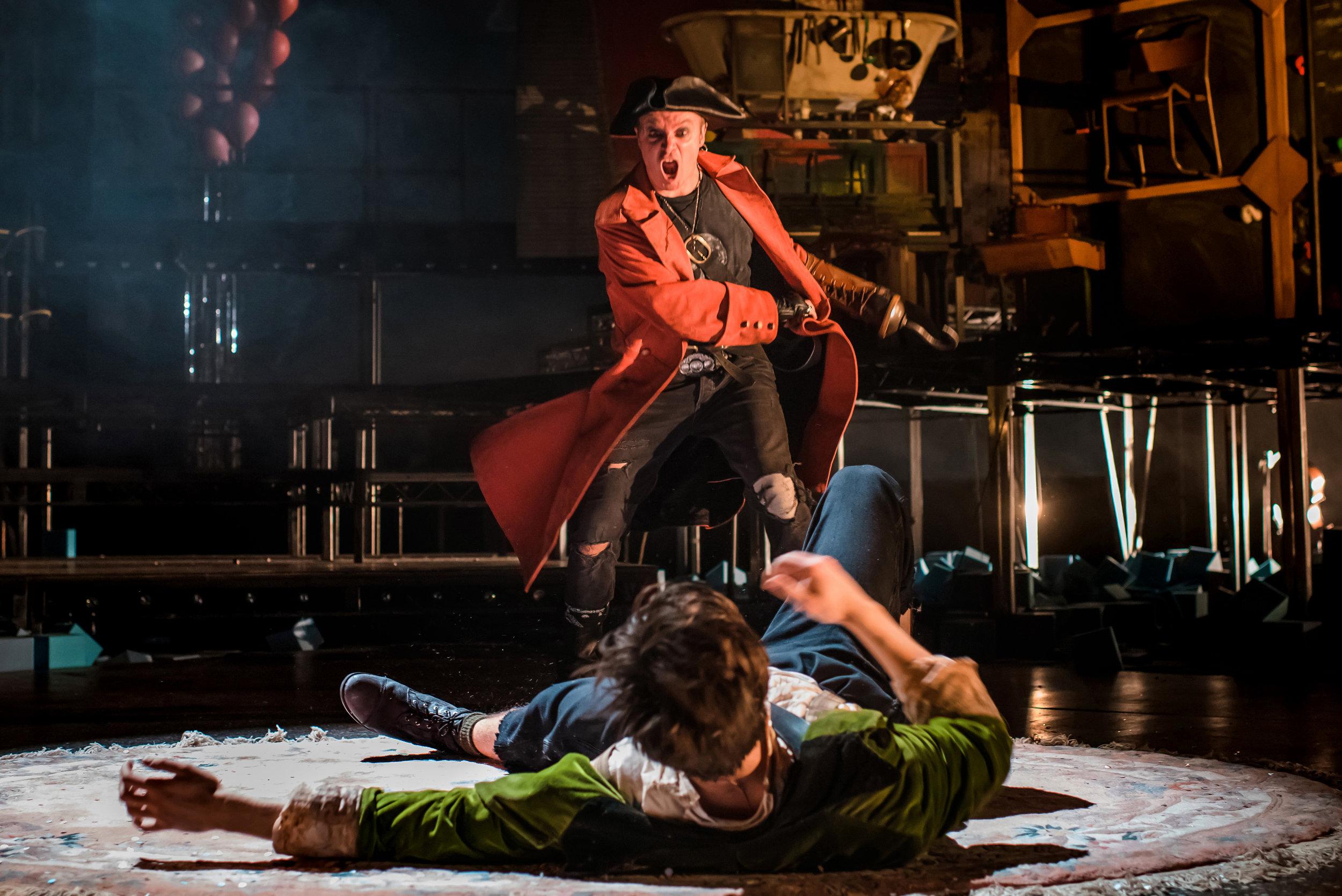 Ziggy Heath as Peter Pan and Gyuri Sarossy as Captain Hook. Photo credit Mihaela Bodlovic.jpg