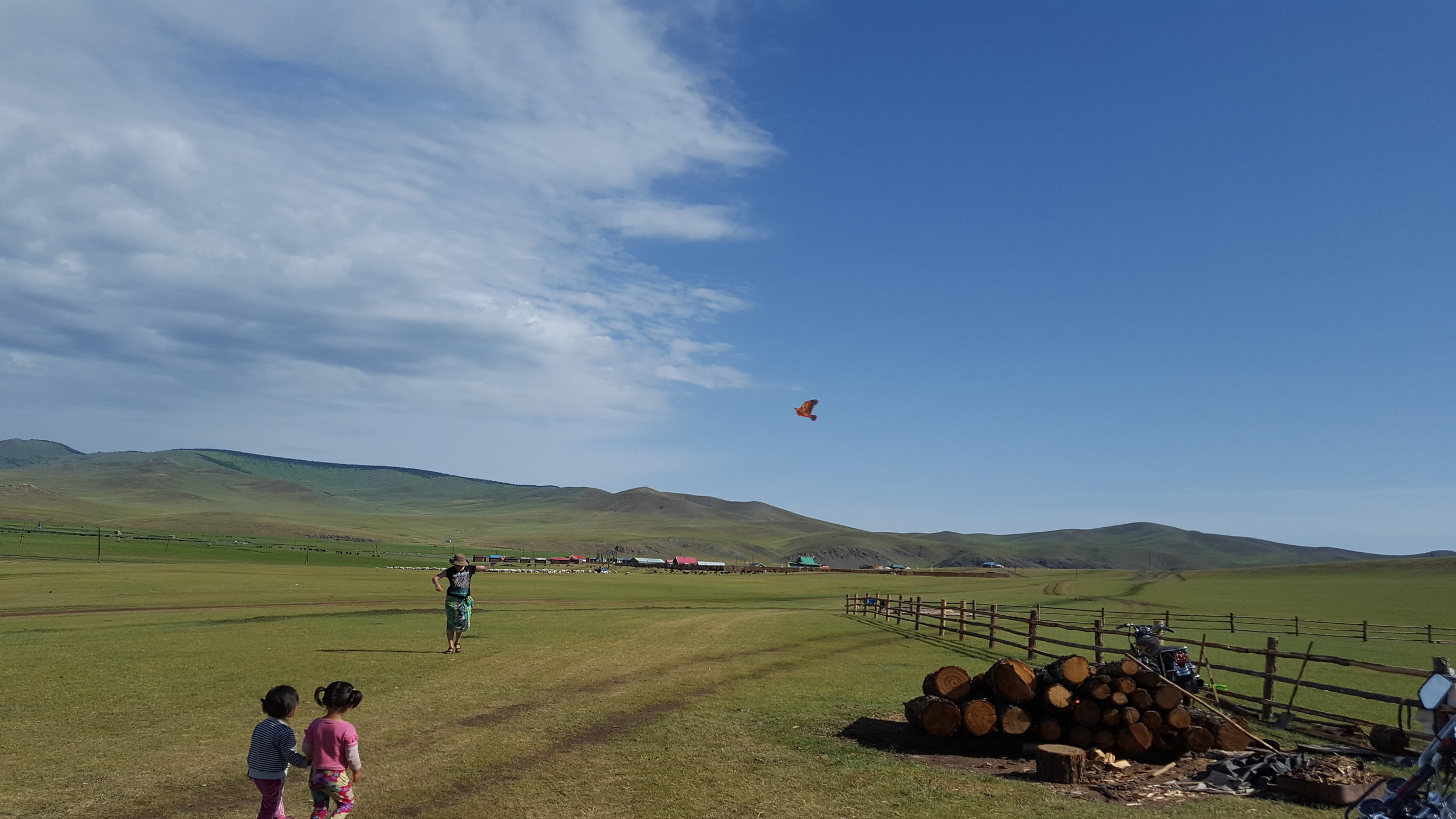 Flying a kite with the children