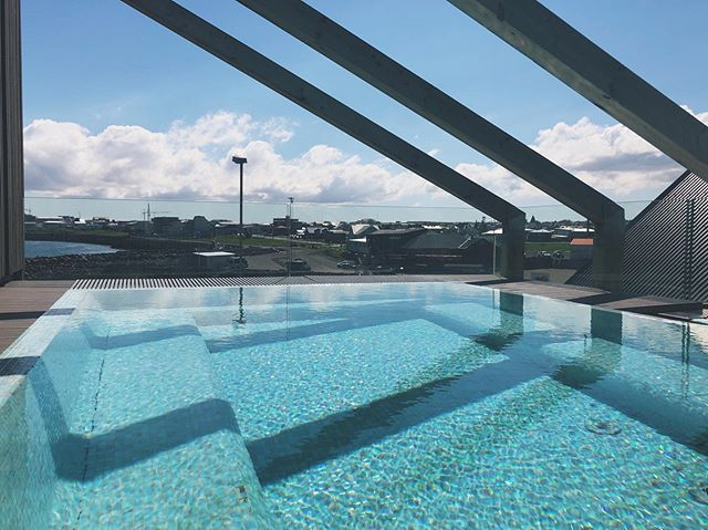 Our roof top pool on a sunny Icelandic day. Not bad at all!