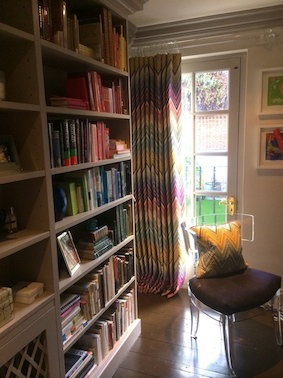 Missoni printed curtains and cushion, we also created a missoni fabric covered noticeboard